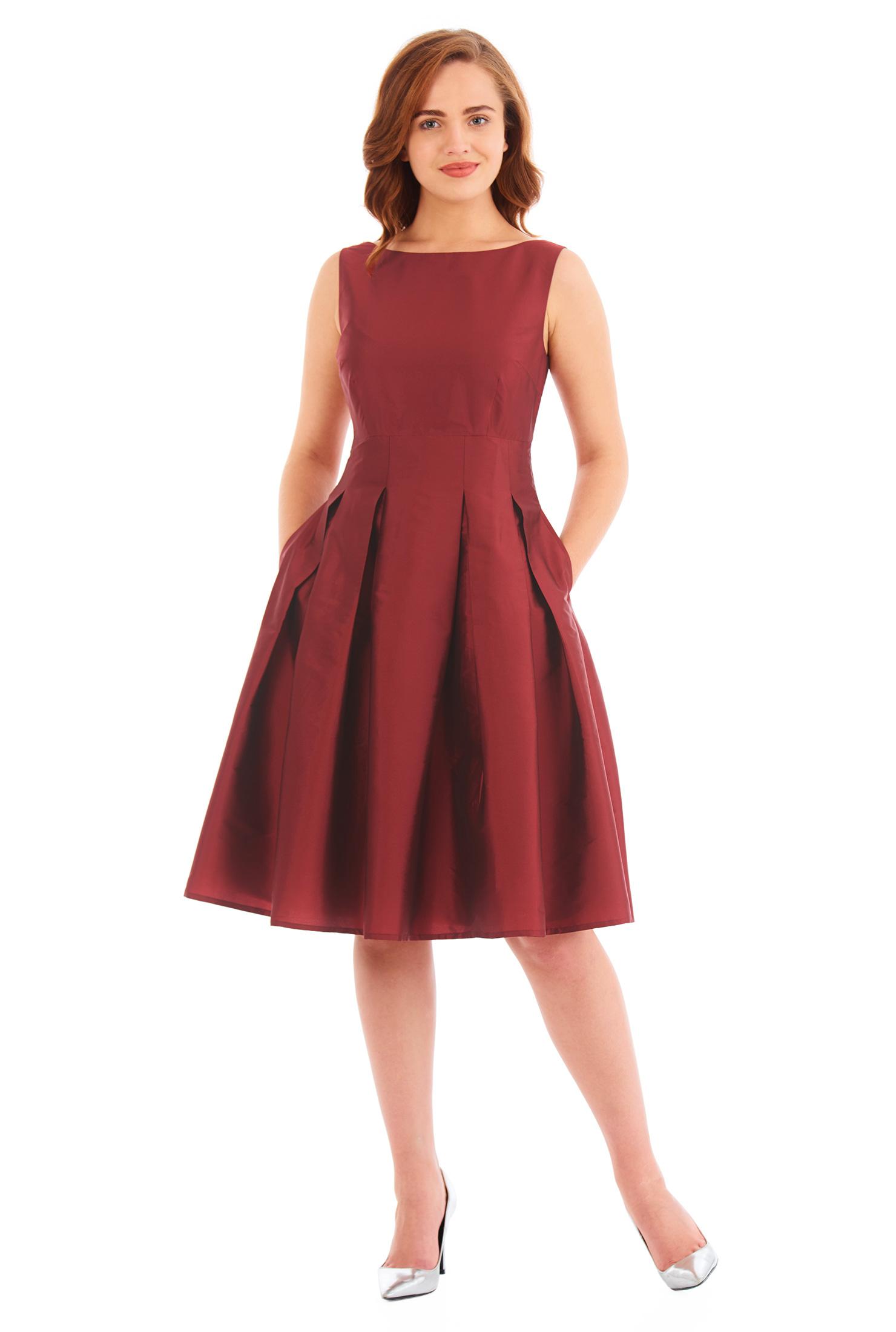 Eshakti Womens Empire A-line Taffeta Dress