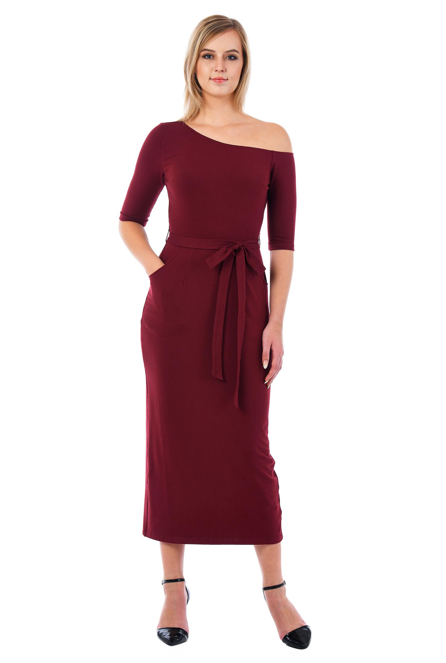 eShakti Women's One shoulder cotton knit midi dress CL0052946