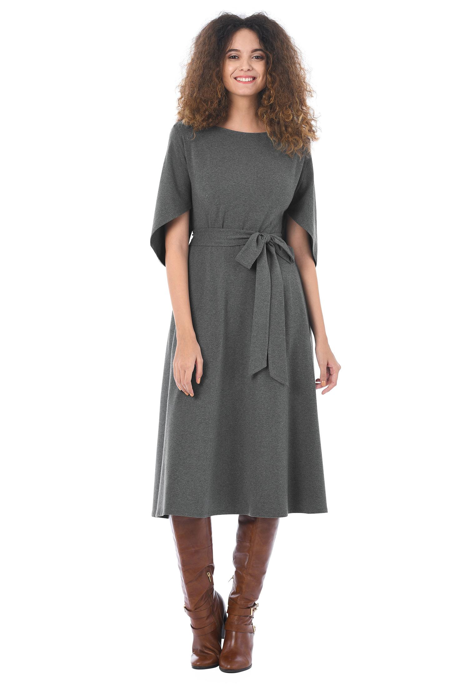 Eshakti Womens Cape Sleeve Cotton Knit Dress