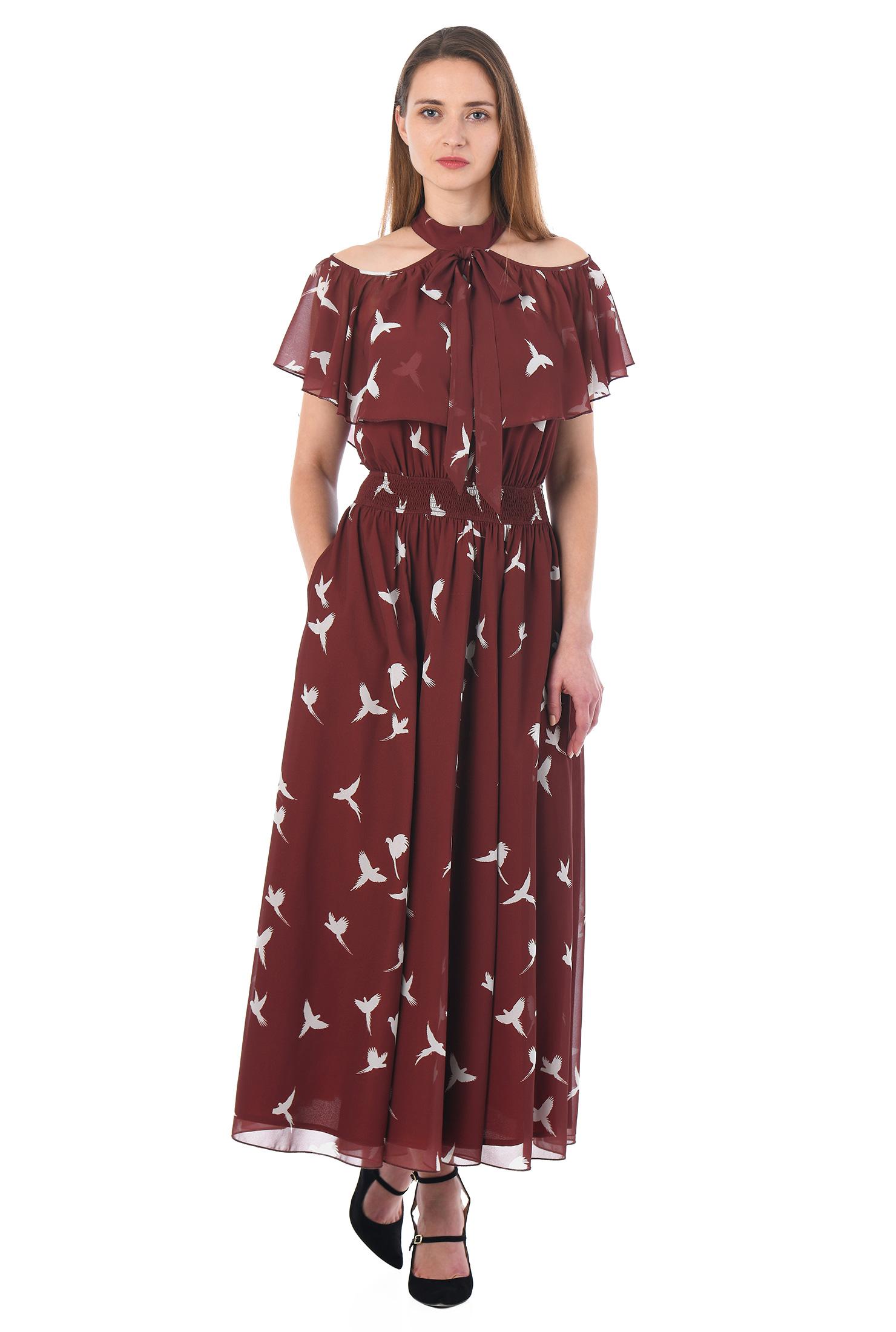 eShakti Women's Ruffle cold shoulder bird print georgette dress CL0053107