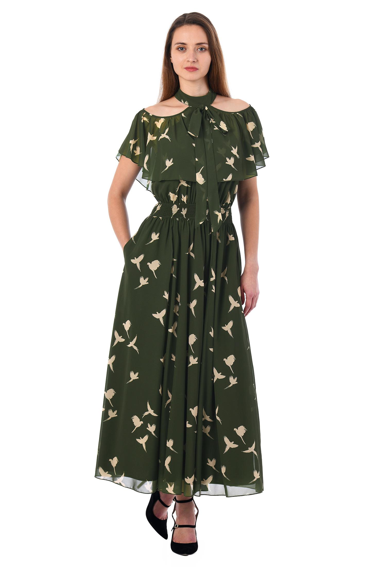 eShakti Women's Ruffle cold shoulder bird print georgette dress CL0053115