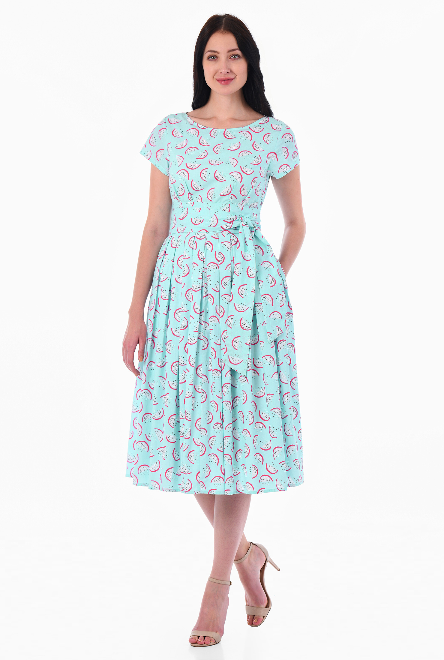 Eshakti Womens Watermelon Print Cotton Sash Tie Dress