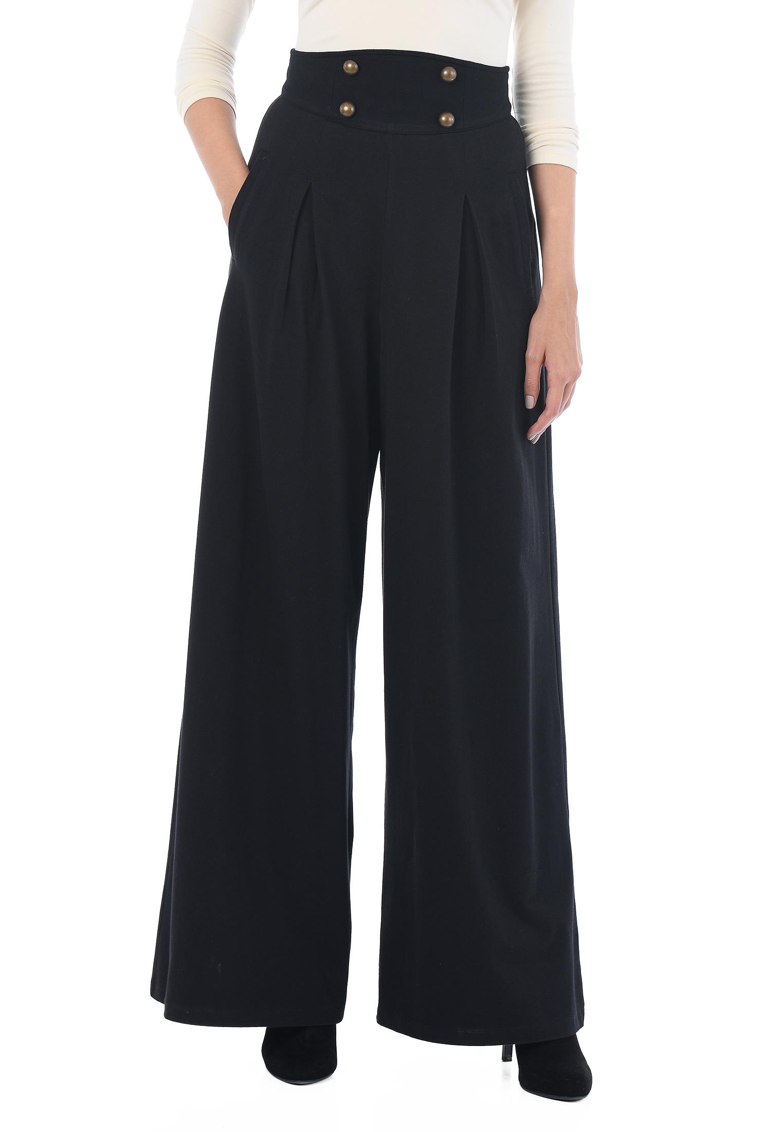 Eshakti Womens Button Waistband Cotton Knit Pants