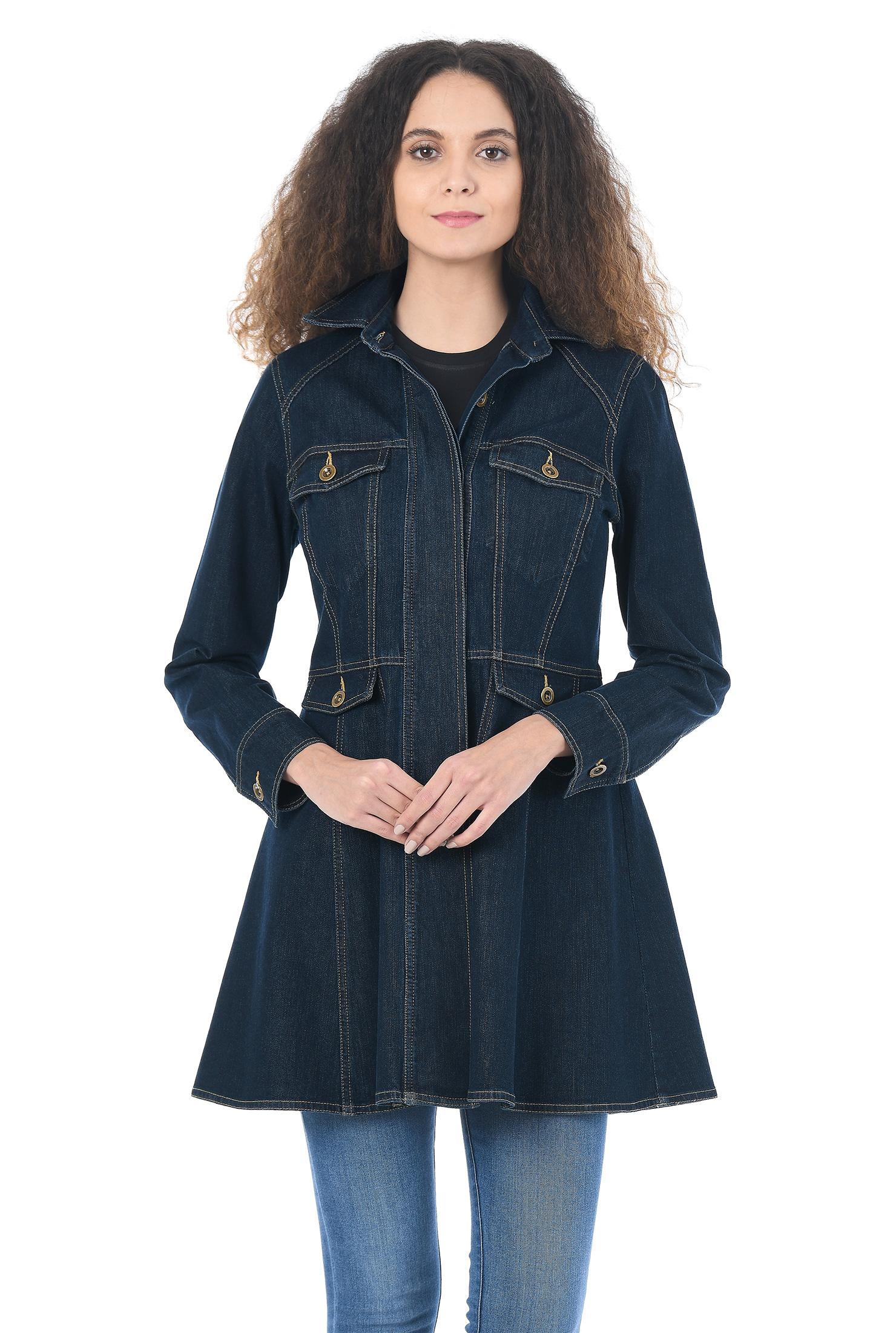 eShakti Women's Deep indigo denim peplum jacket CL0053524
