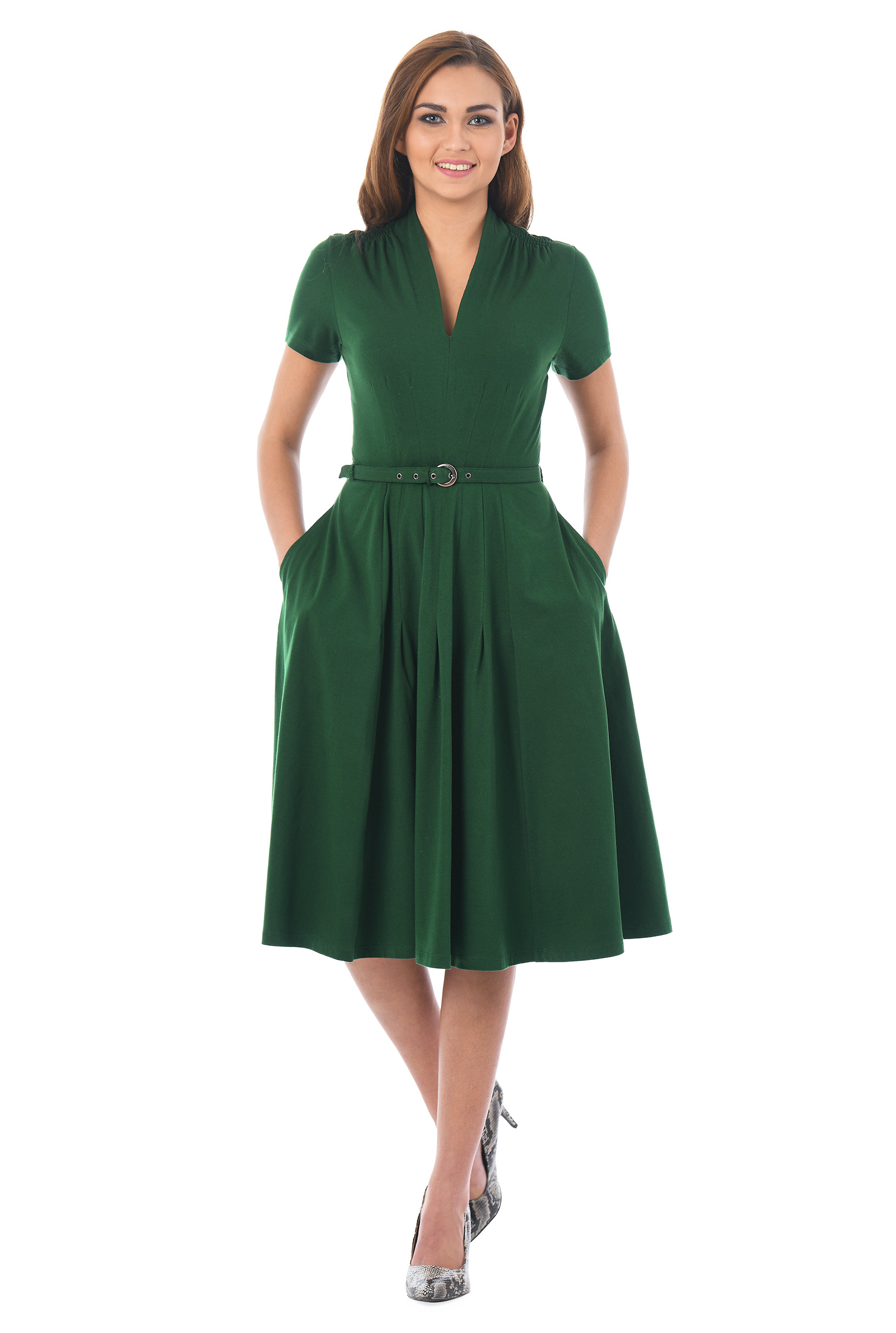 eShakti Women's Cotton jersey knit belted dress