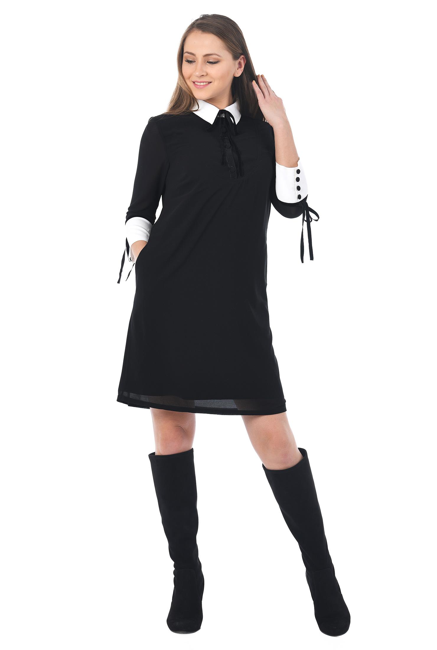 eShakti Women's Tie cuffs chiffon shift shirtdress CL0053616