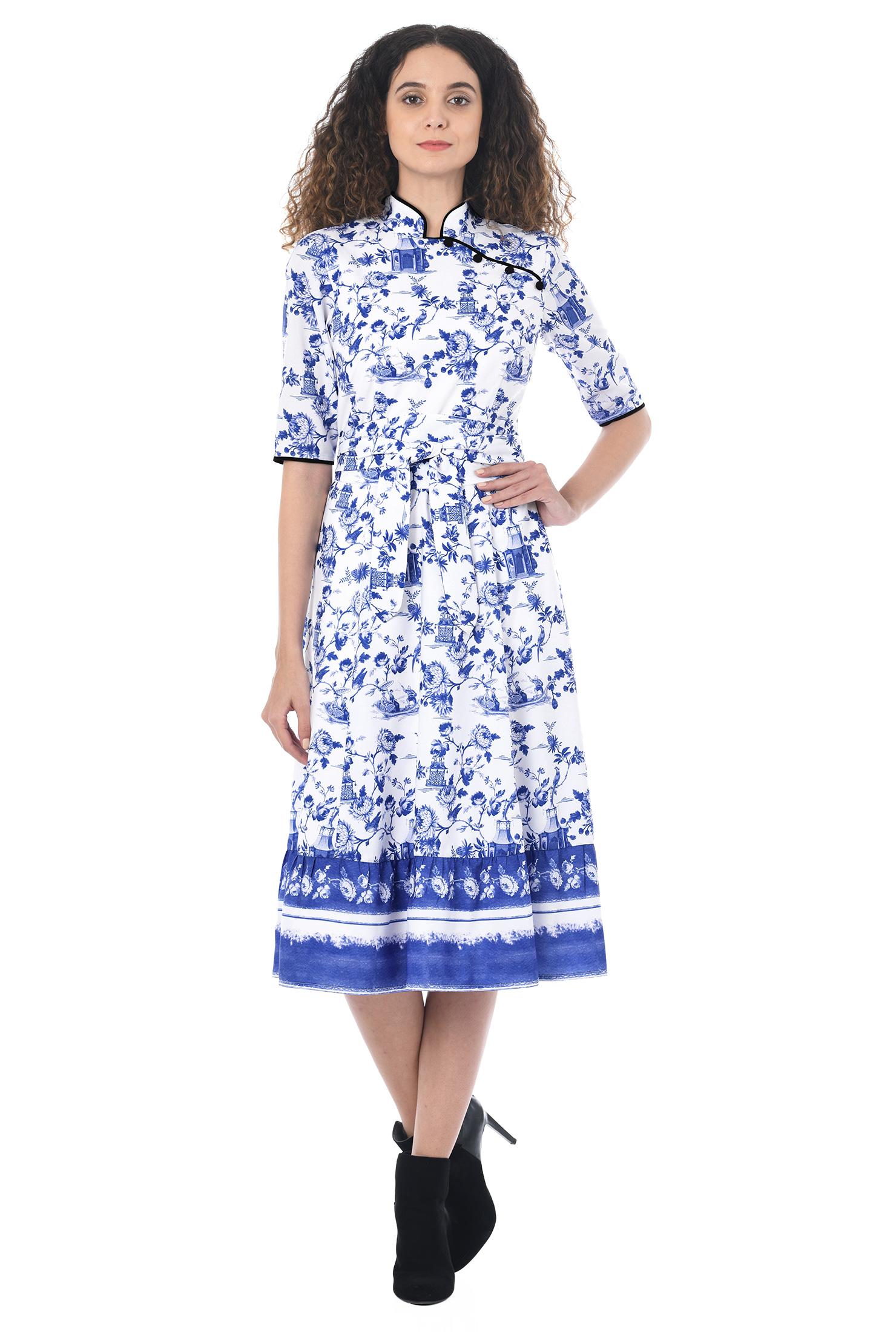 Eshakti Womens Mandarin Collar Porcelain Print Crepe Dress