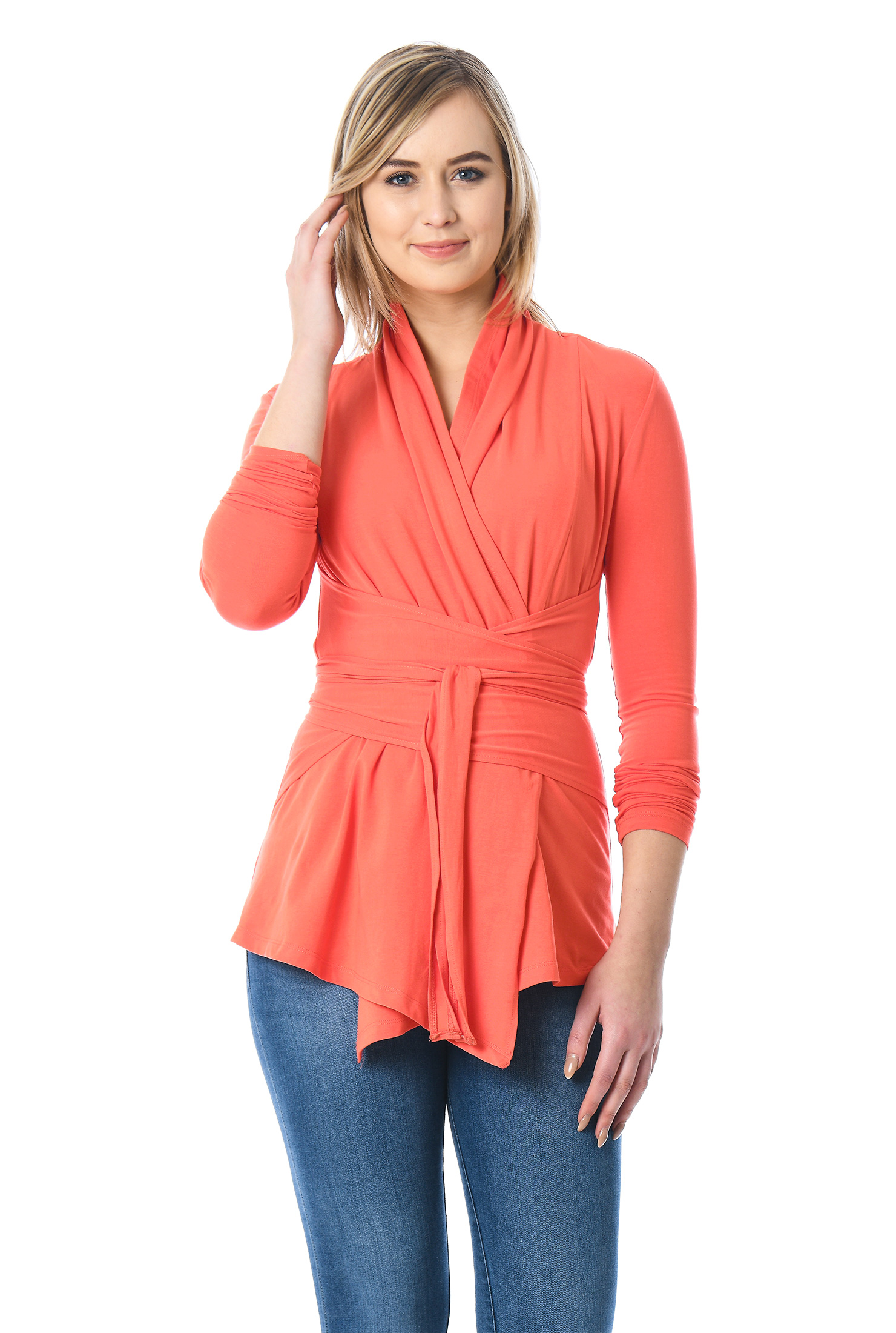 eShakti Women's Obi belt cotton knit wrap tunic CL0055309