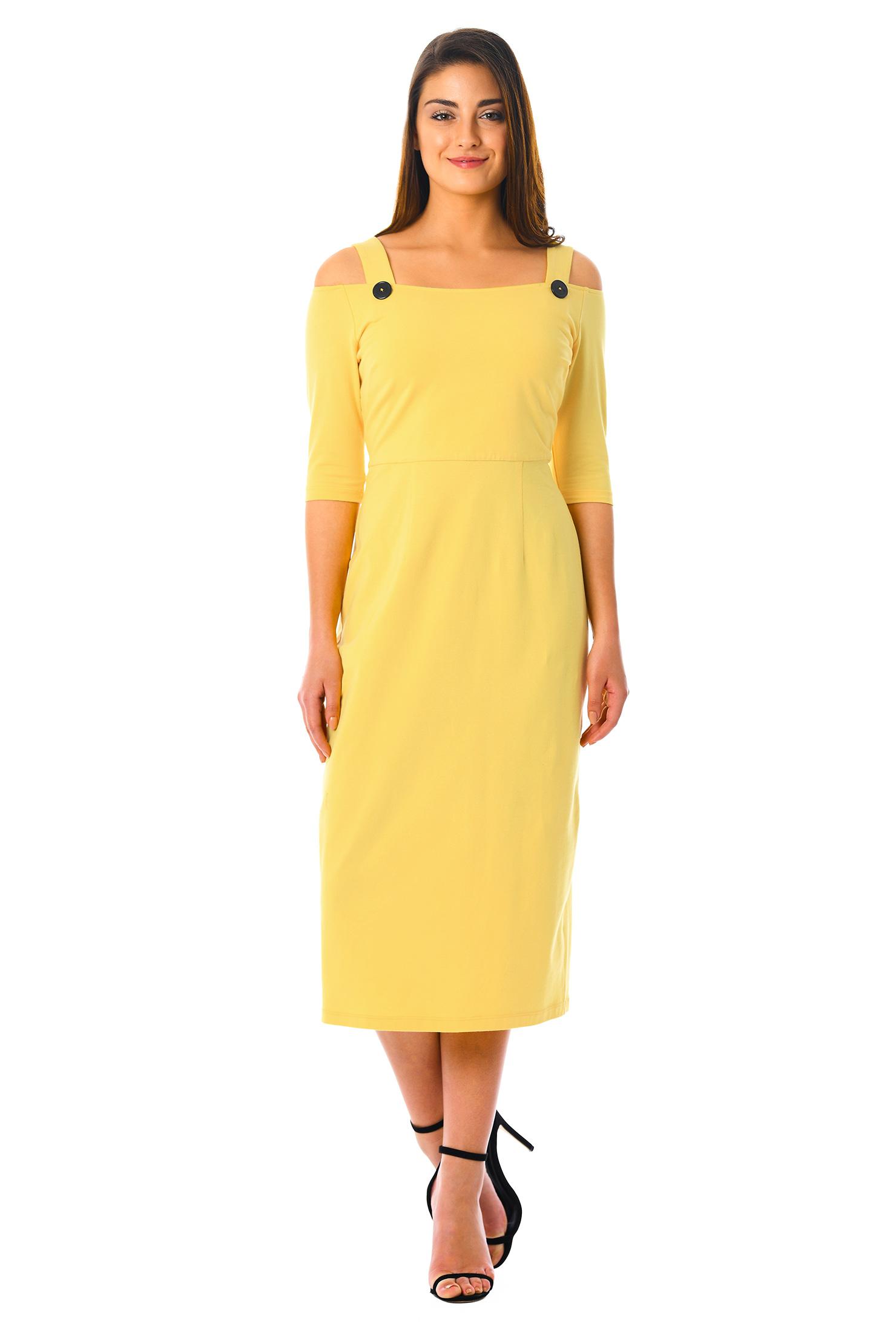 eShakti Women's Cold shoulder cotton knit sheath dress CL0055362
