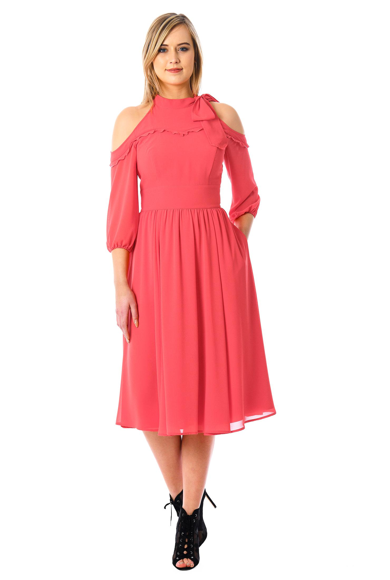 eShakti Women's Cold shoulder ruffle chiffon dress CL0055438