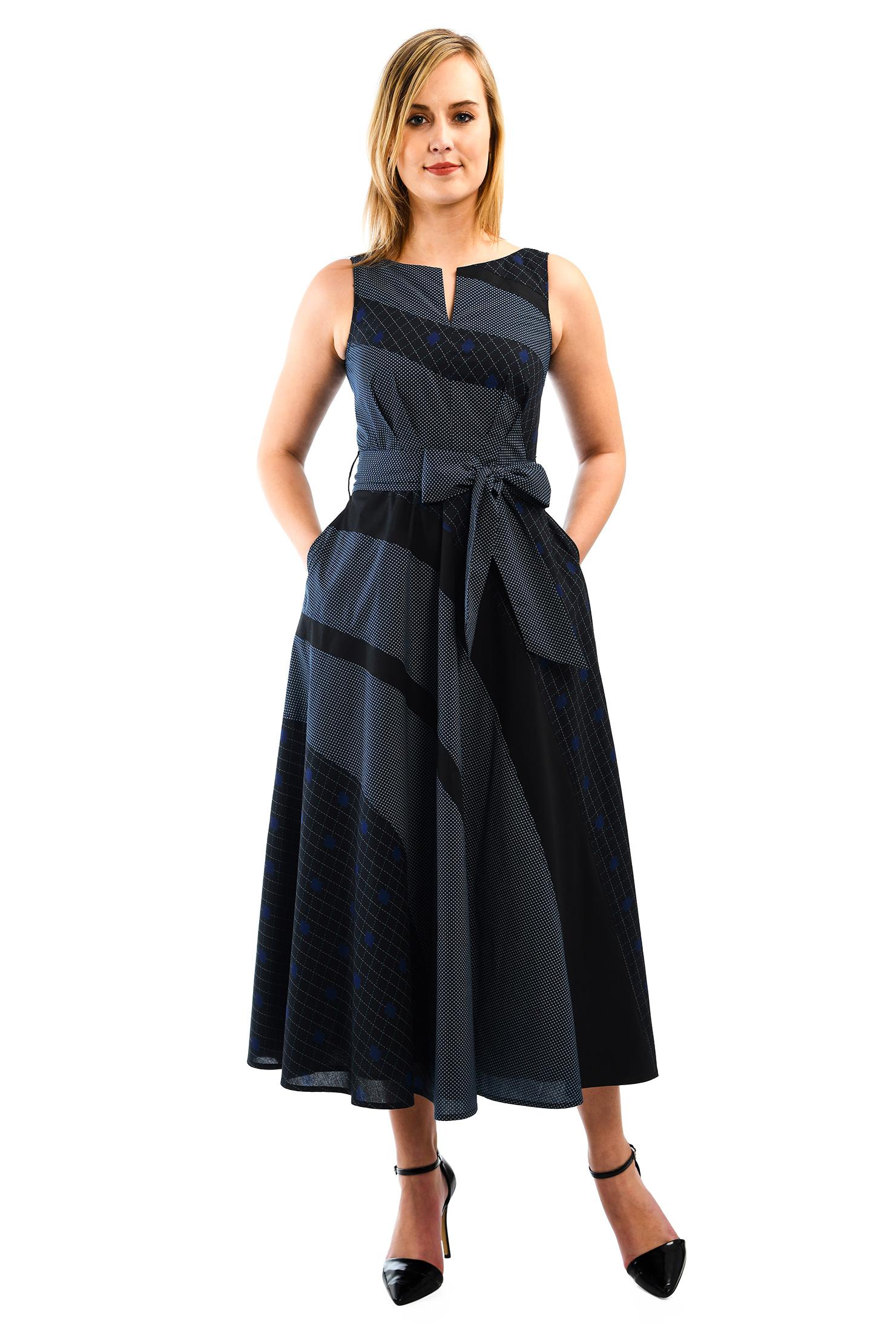 eShakti Women's Mixed prints cotton midi dress CL0055493