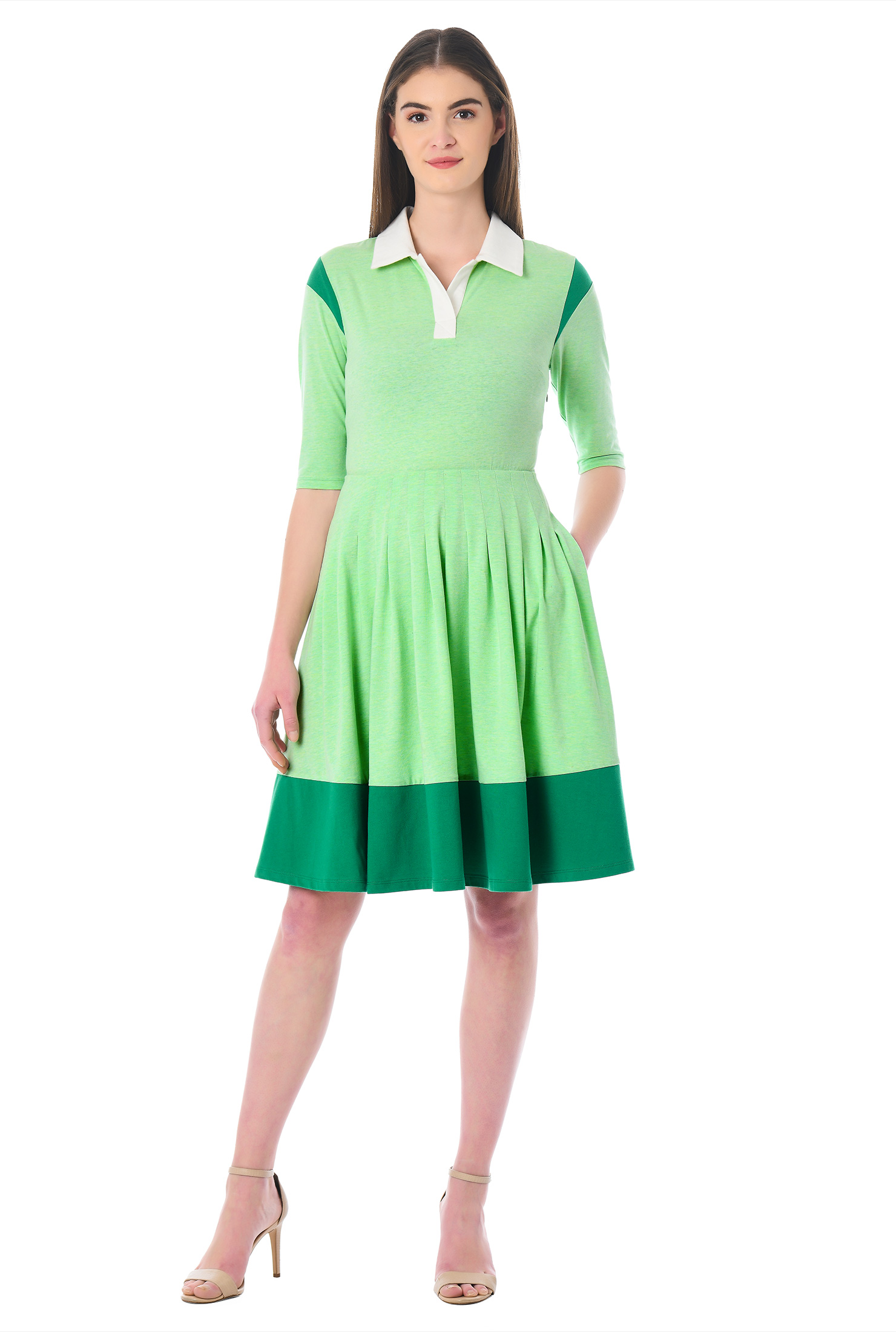 eShakti Women's Contrast trim cotton knit dress