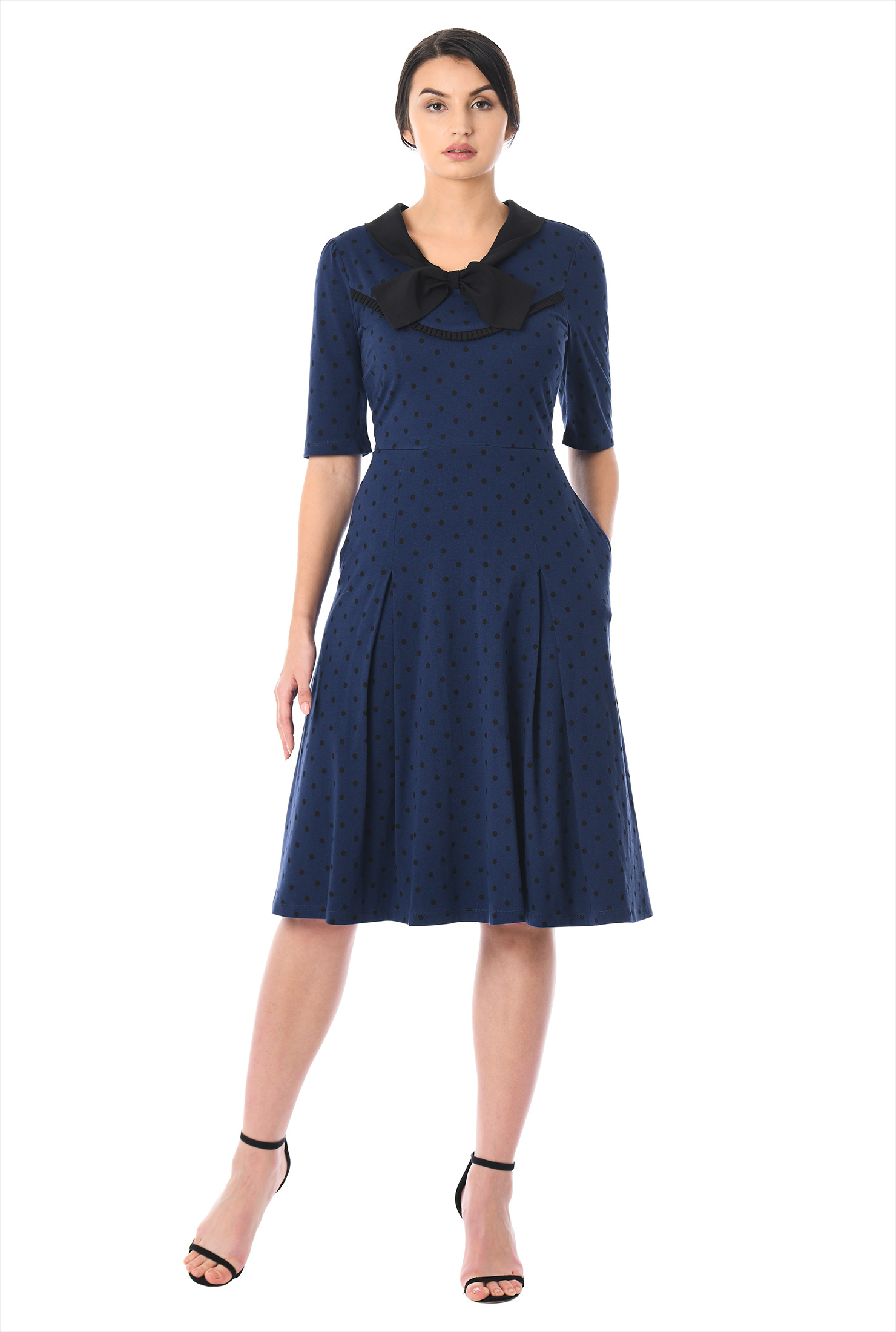 eShakti Women's Bow tie polka dot print cotton knit dress