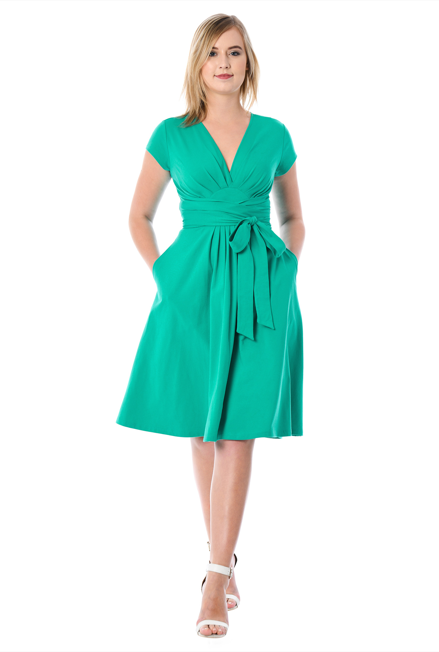 eShakti Women's Tie waist empire cotton knit dress