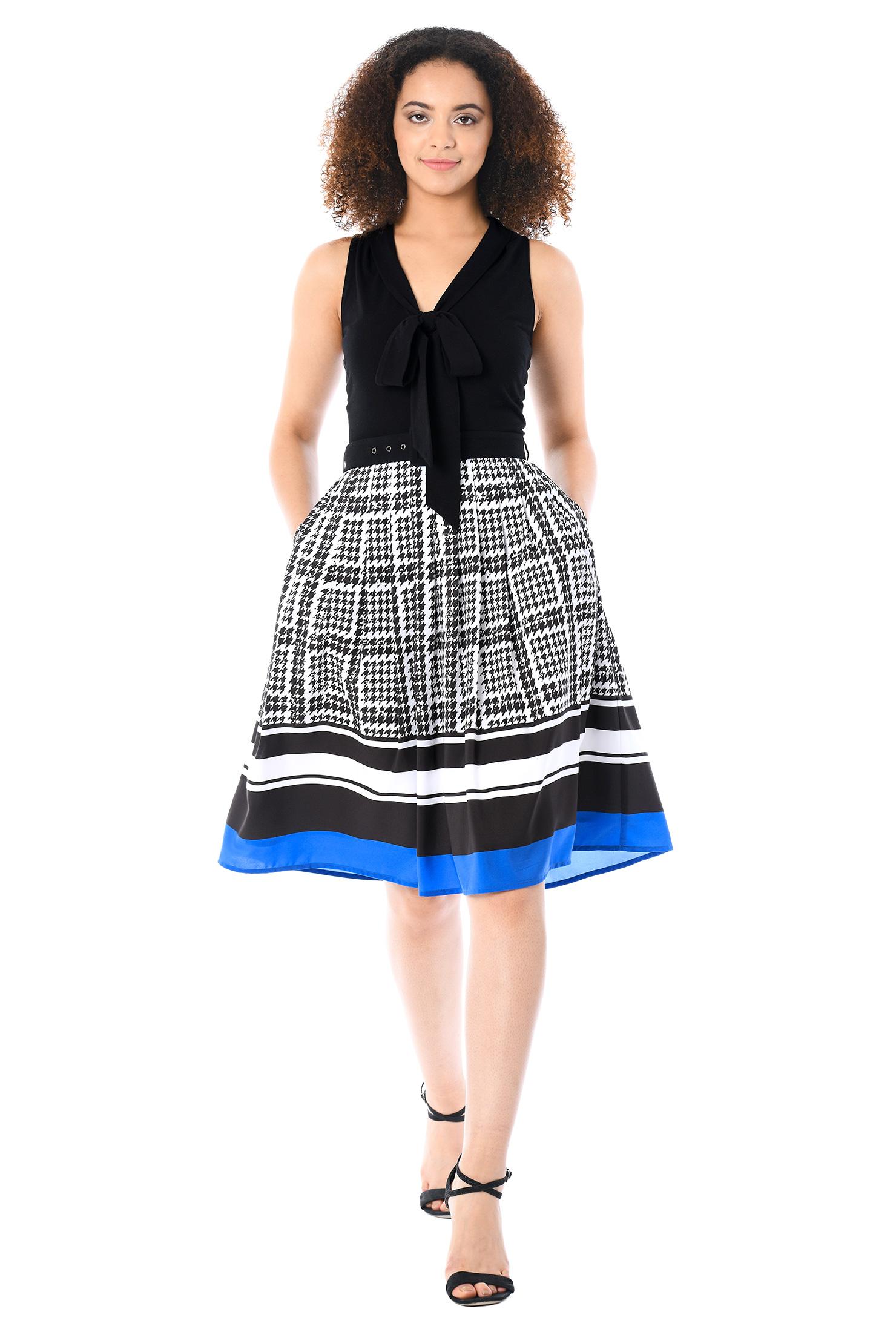 eShakti Women's Tie-neck mixed media dress CL0056964