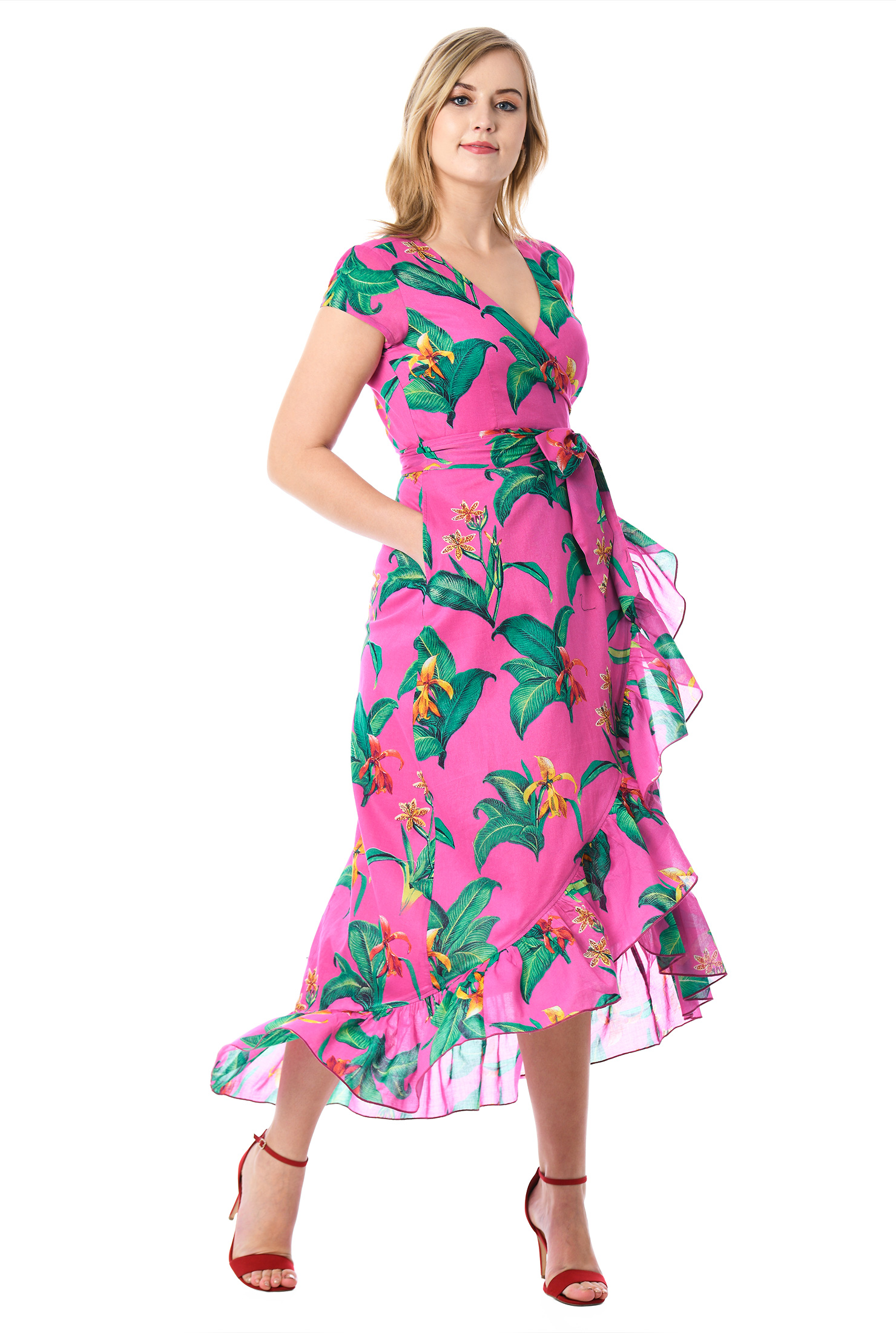 eShakti Women's Ruffle tropical print cotton voile wrap dress