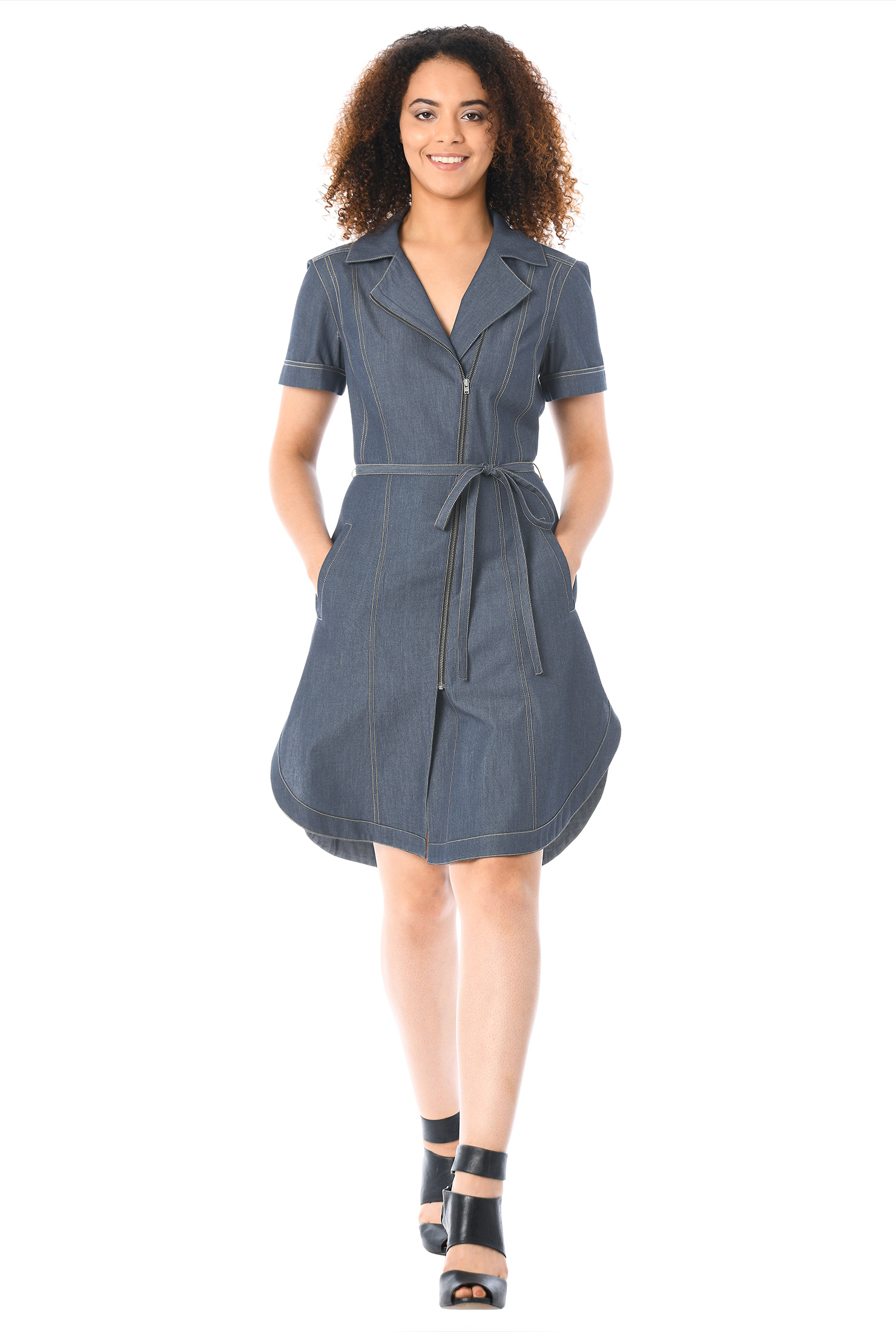 eShakti Women's Metal zip front cotton chambray dress