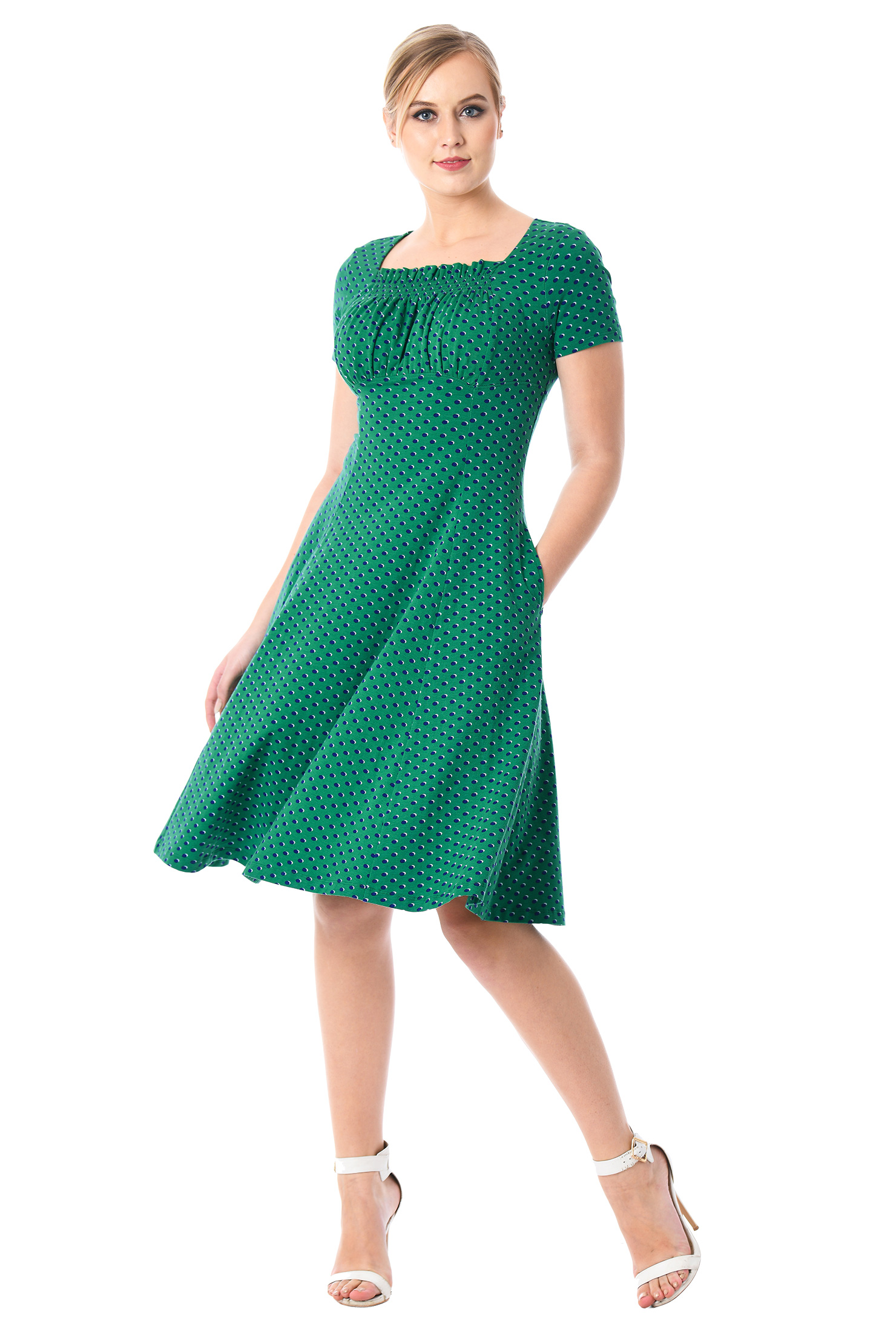 eShakti Women's Ruched bodice polka dot cotton knit dress