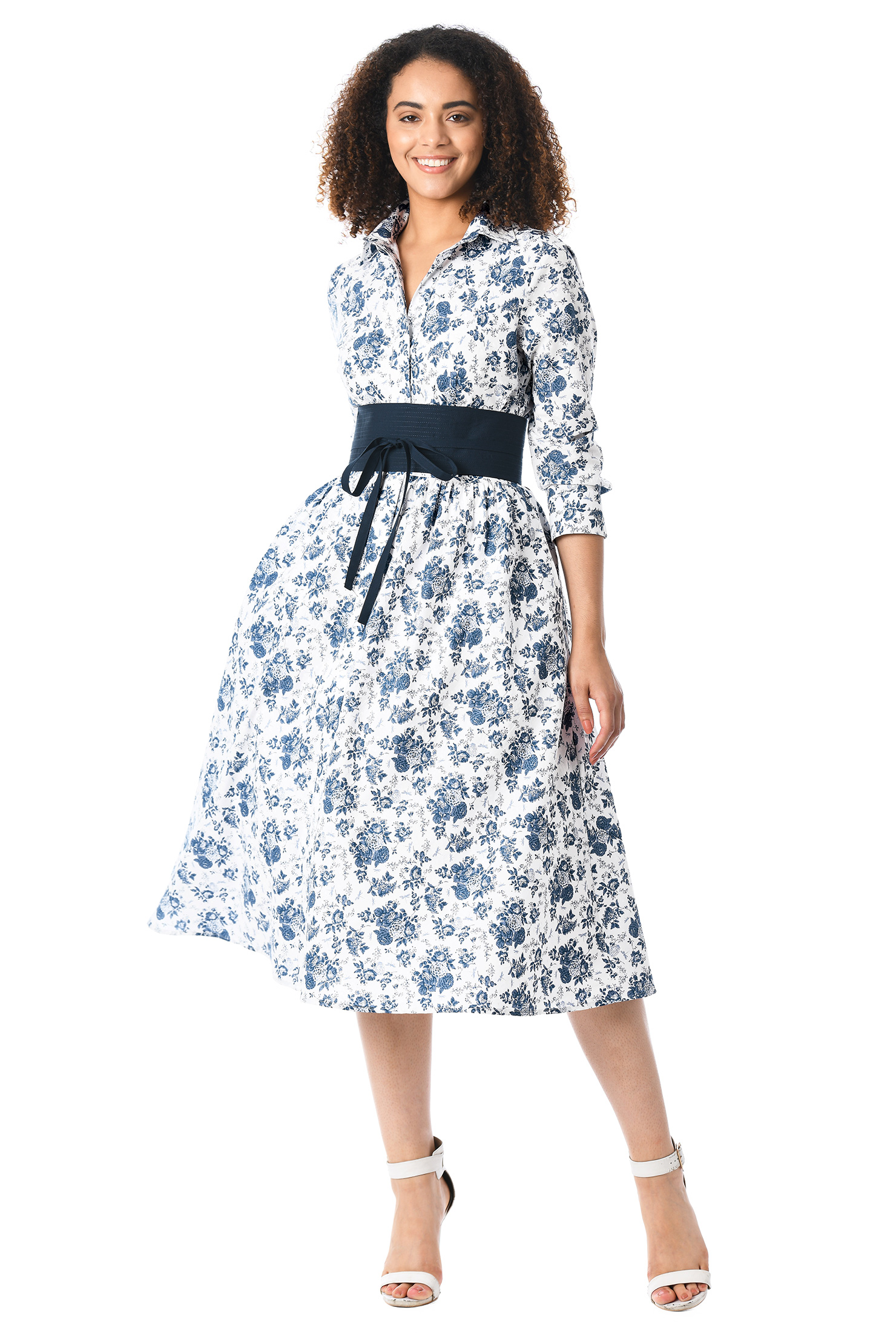 eShakti Women's Trapunto obi belt floral print cotton shirtdress