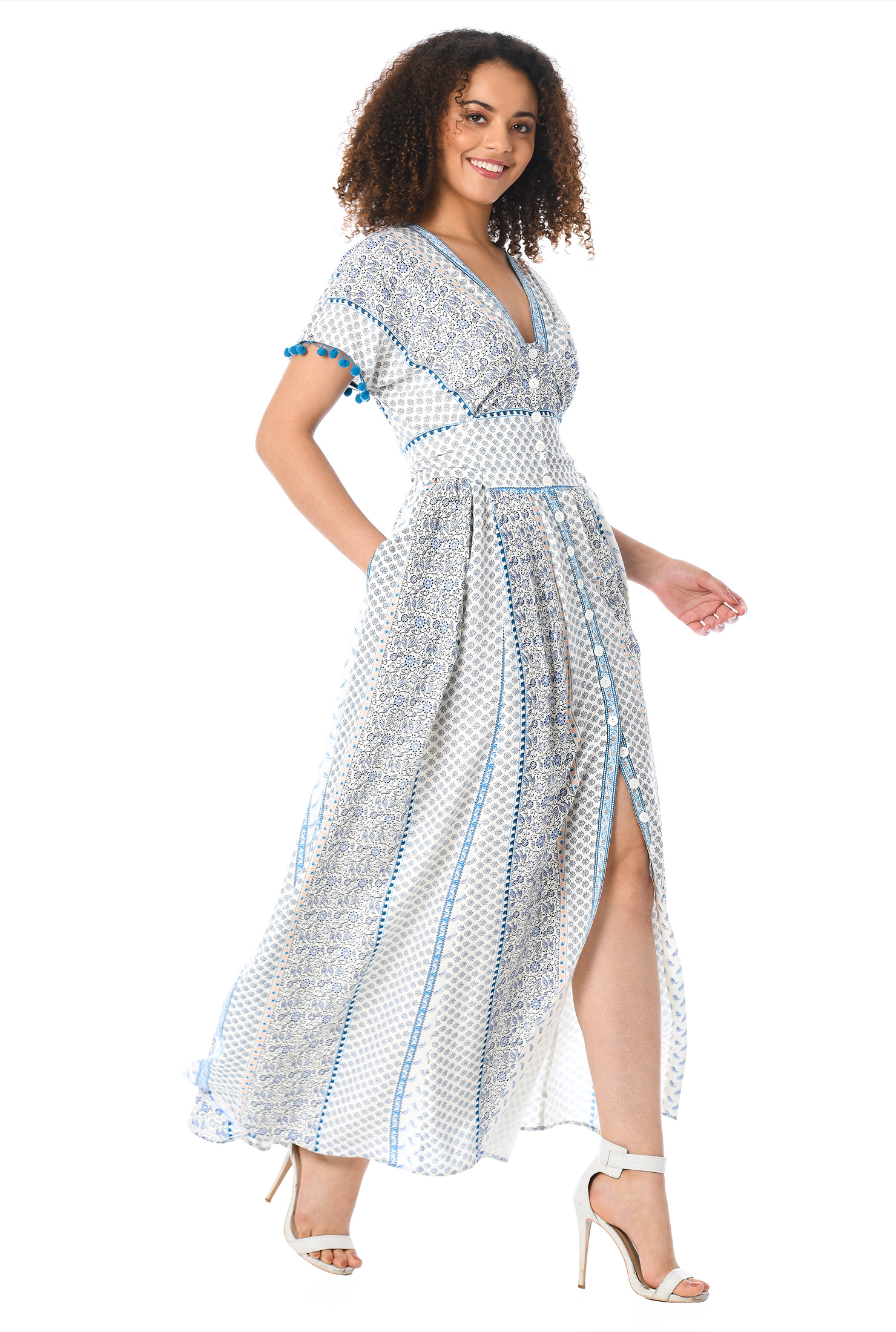 eShakti Women's Linear mixed print pompom trim maxi dress