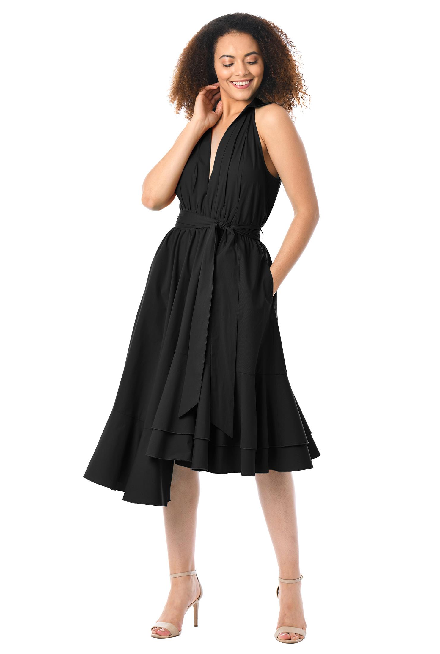 eShakti Women's Asymmetric ruffle hem cotton poplin plunge dress CL0057785