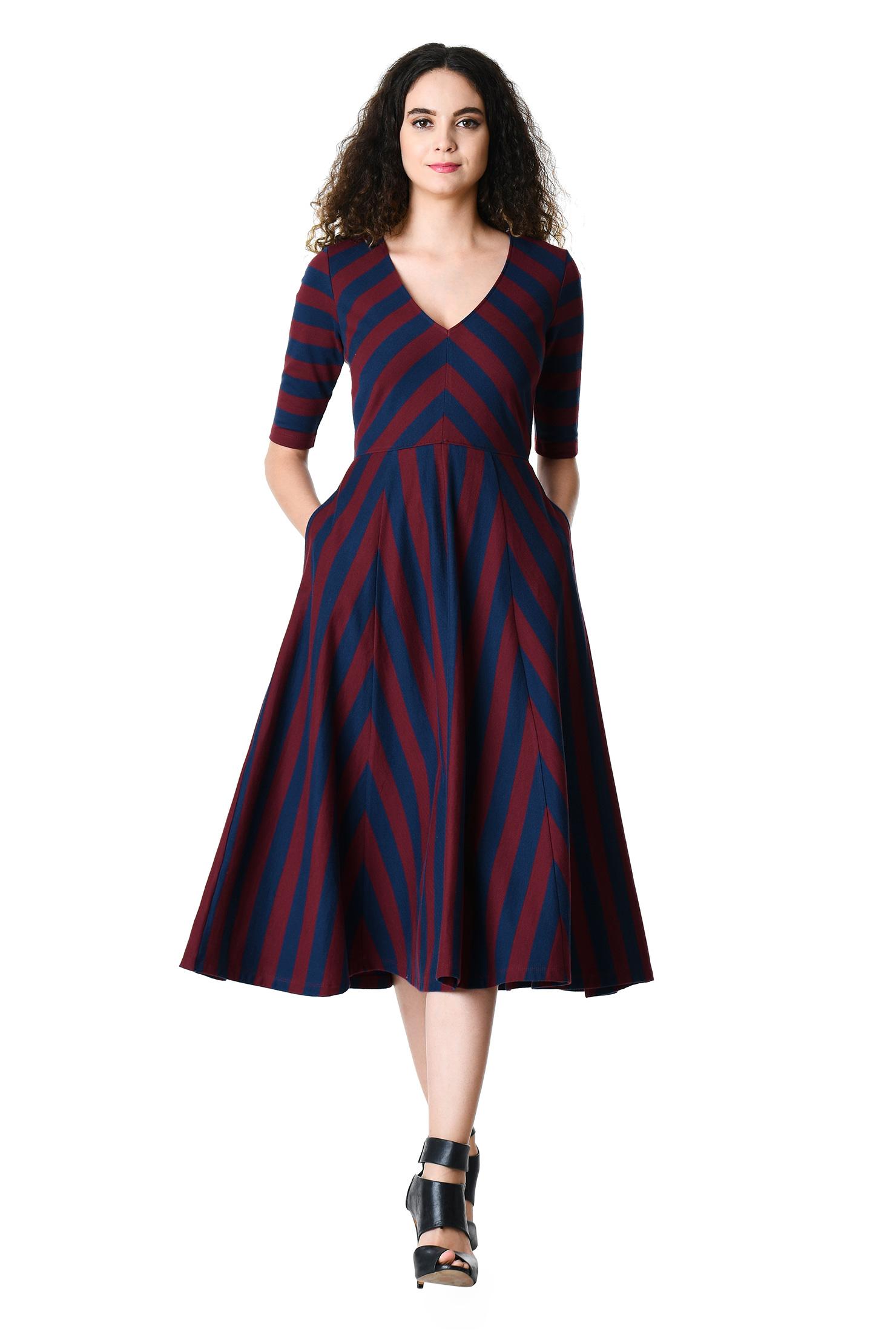 eShakti Women's Stripe cotton knit midi dress CL0060498
