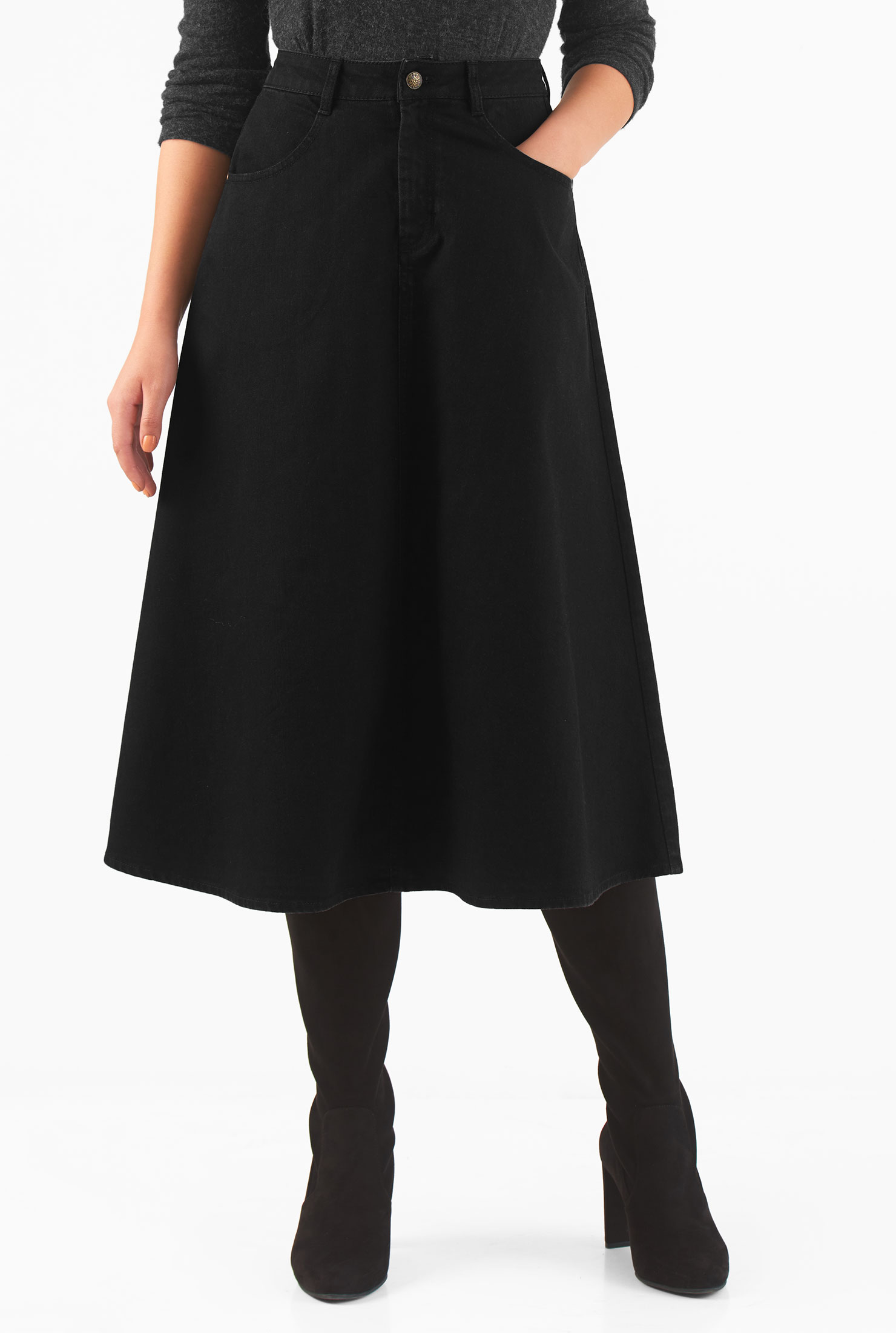 8b156e4f98 banded waist skirts, cotton spandex skirts, denim skirts, Flared Skirts,  flattering