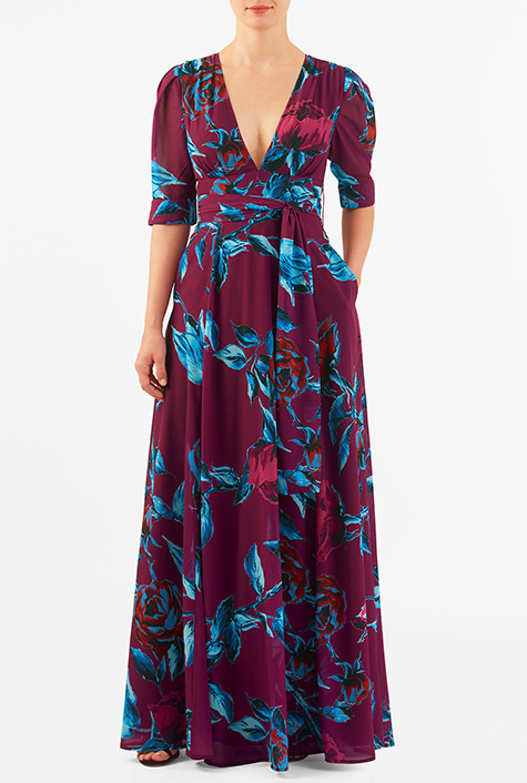 94bf52bb19 Rose print georgette banded empire maxi dress