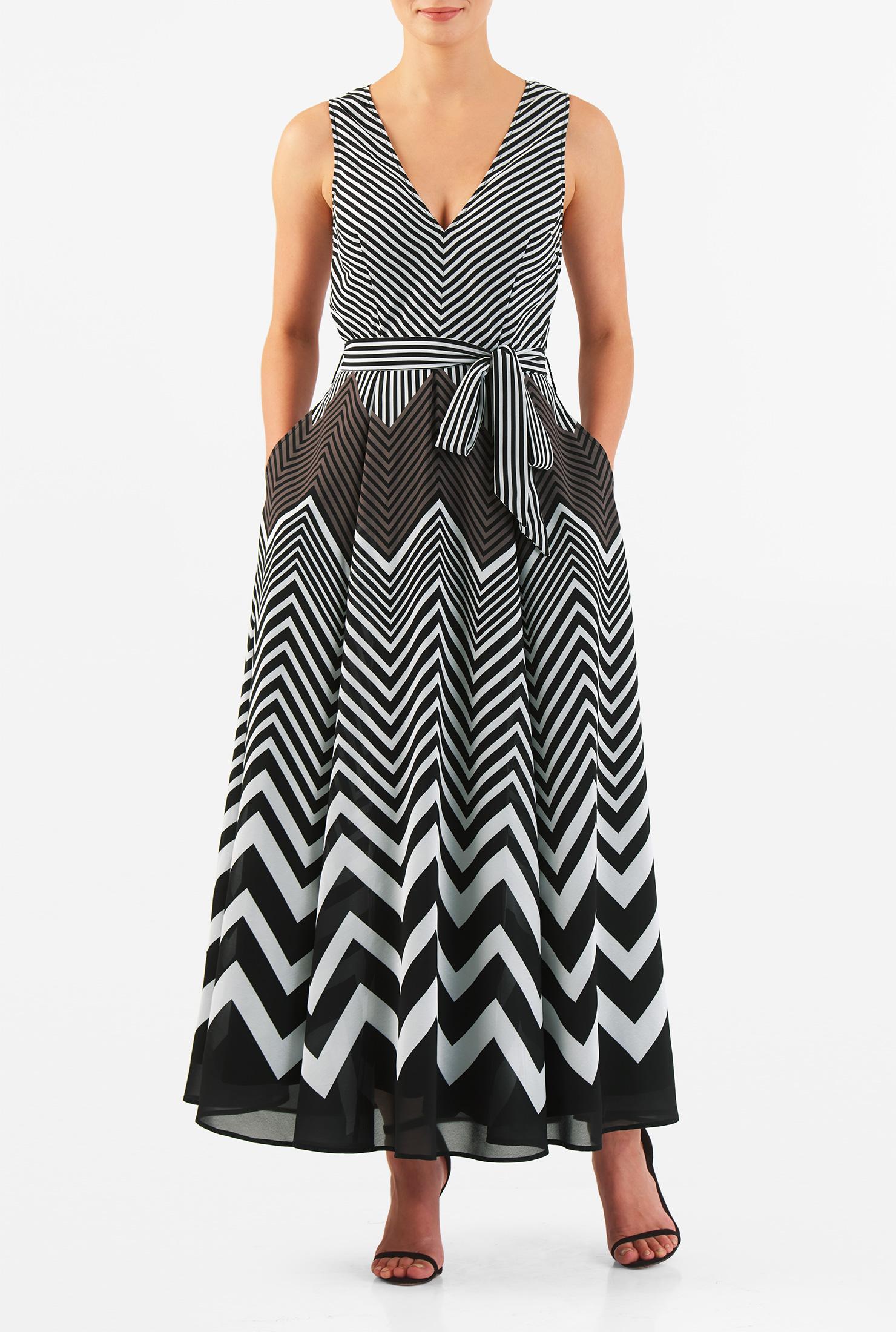 Chevron Ankle Length Dress