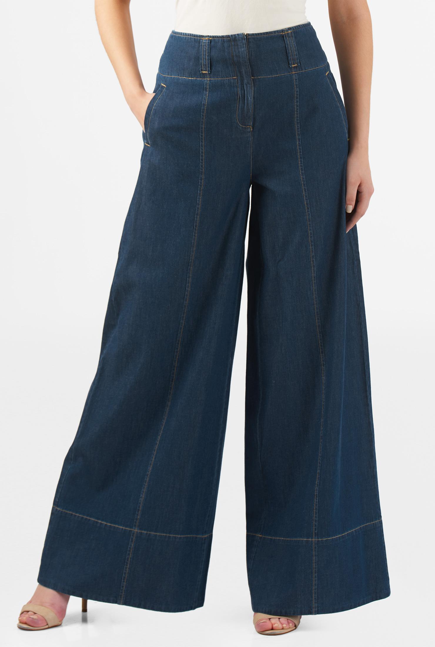 super popular 05412 05734 Deep indigo cotton denim palazzo pants