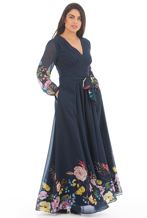 d6228ea50 Feminine pleated floral print georgette maxi dress
