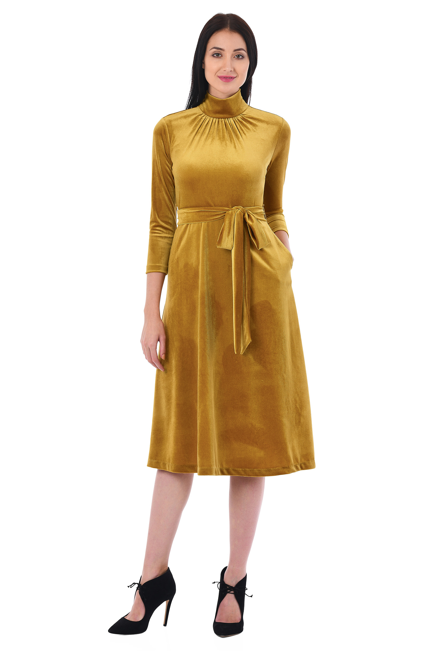 Belted Dresses Fit And Flare Golden Yellow Machine