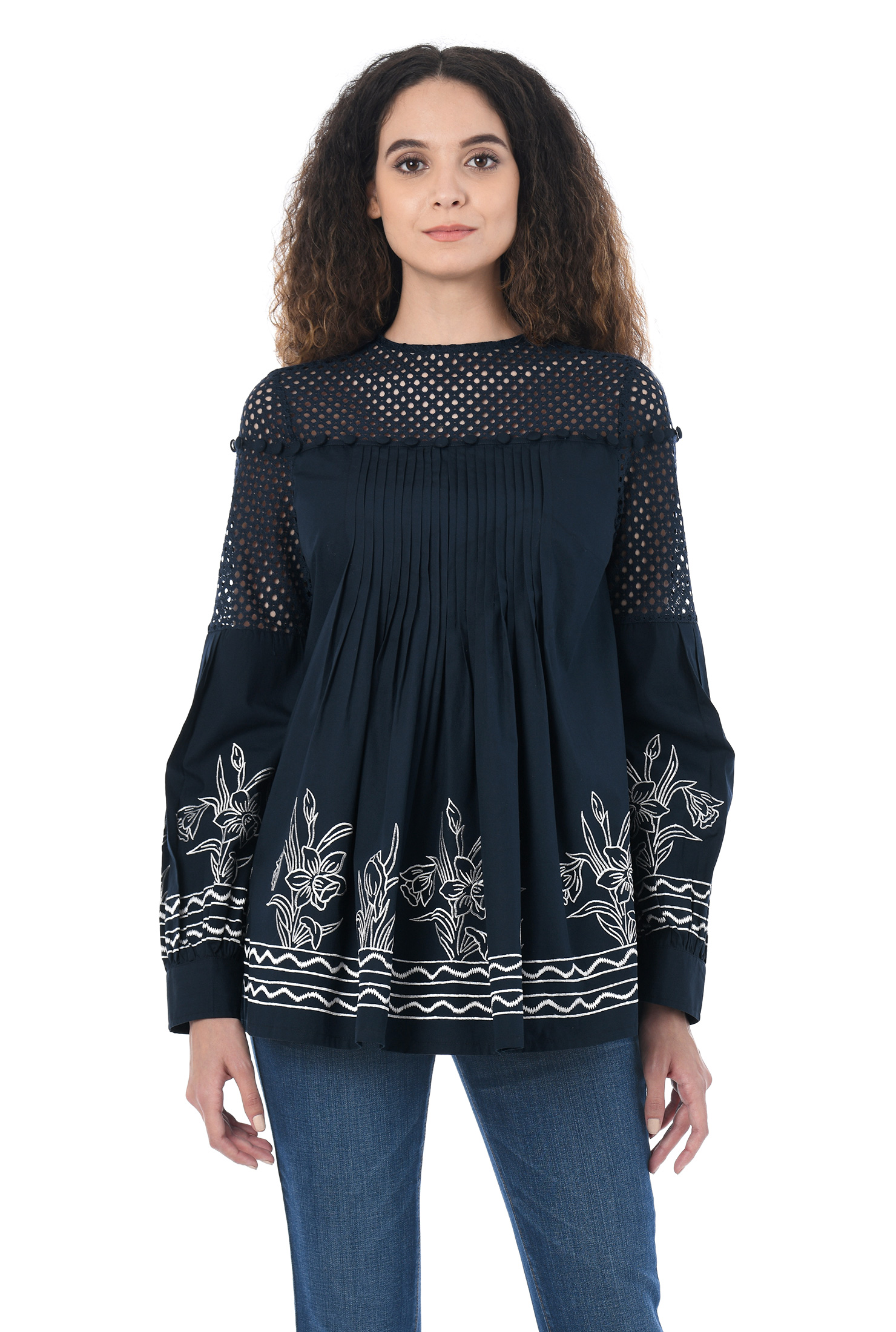 b8b28b522 Cotton/polyester tops, Long Sleeve Tops, low hip length tops, Machine