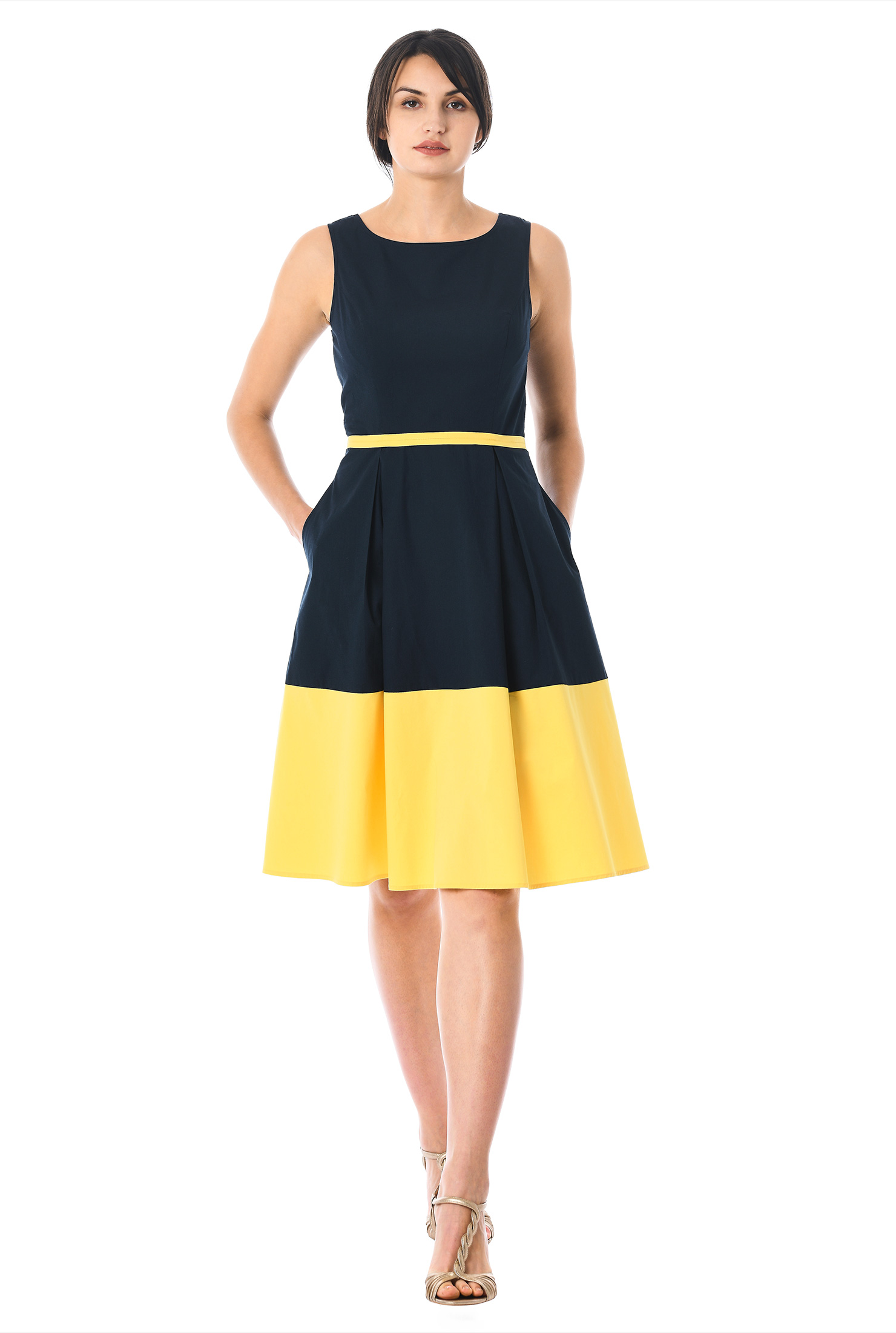 Yellow Colorblock Dress