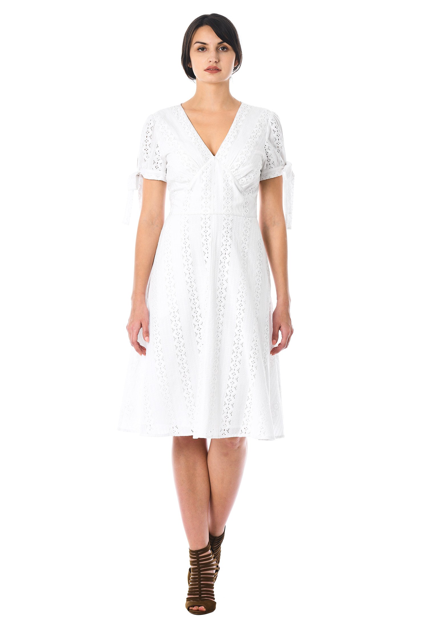 Short Sleeve Eyelet Dress