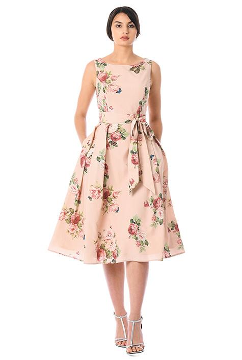 Rose print crepe sash tie dress