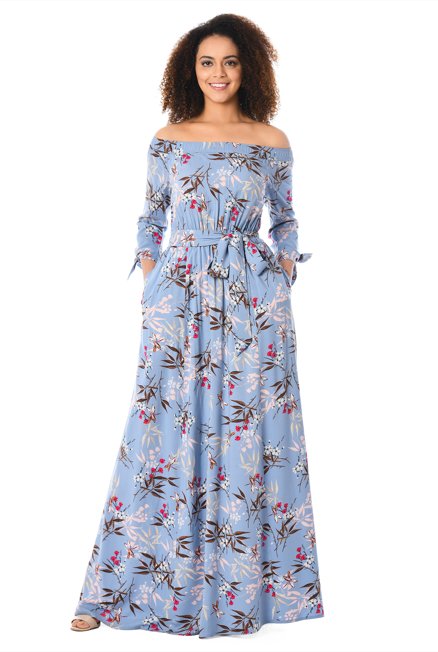 9ac233386d9a ... Off-the-shoulder floral print maxi dress. Out of Stock.
