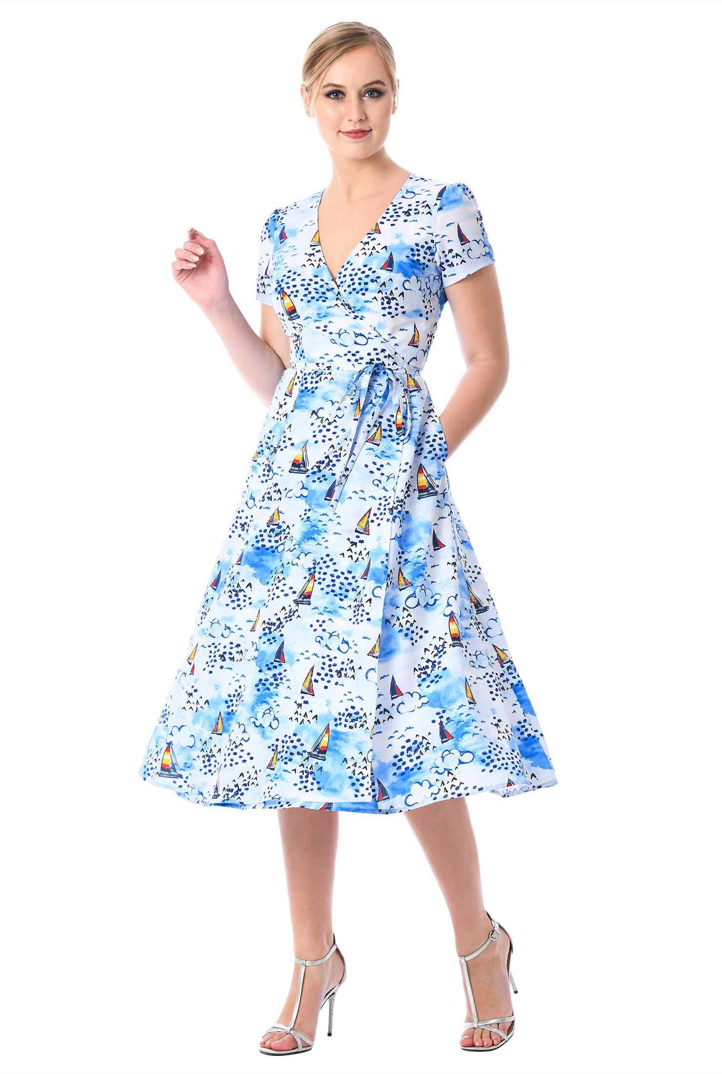 95794edd56e ... Sail print crepe wrap dress. Out of Stock.