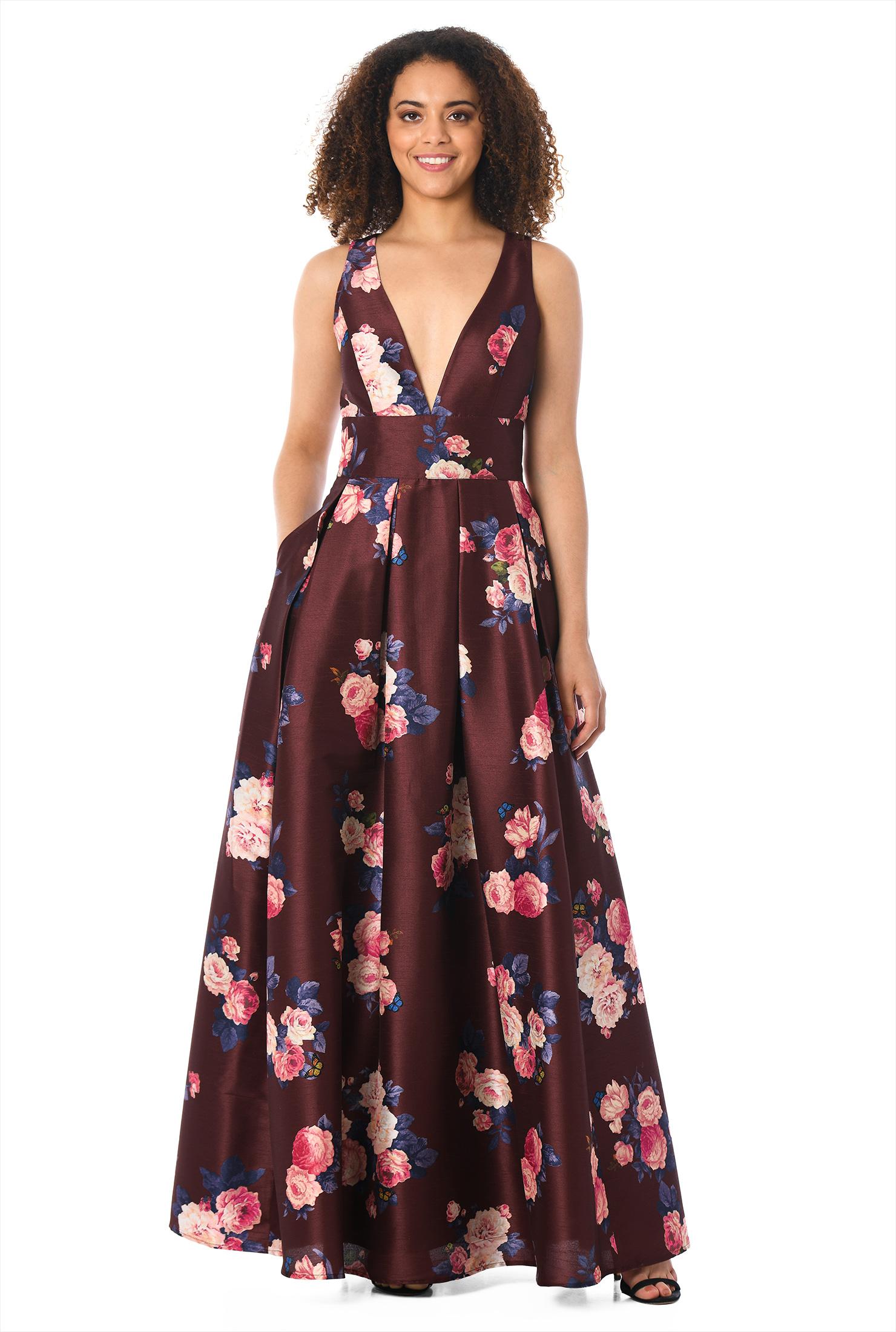 Plunge rose print dupioni dress