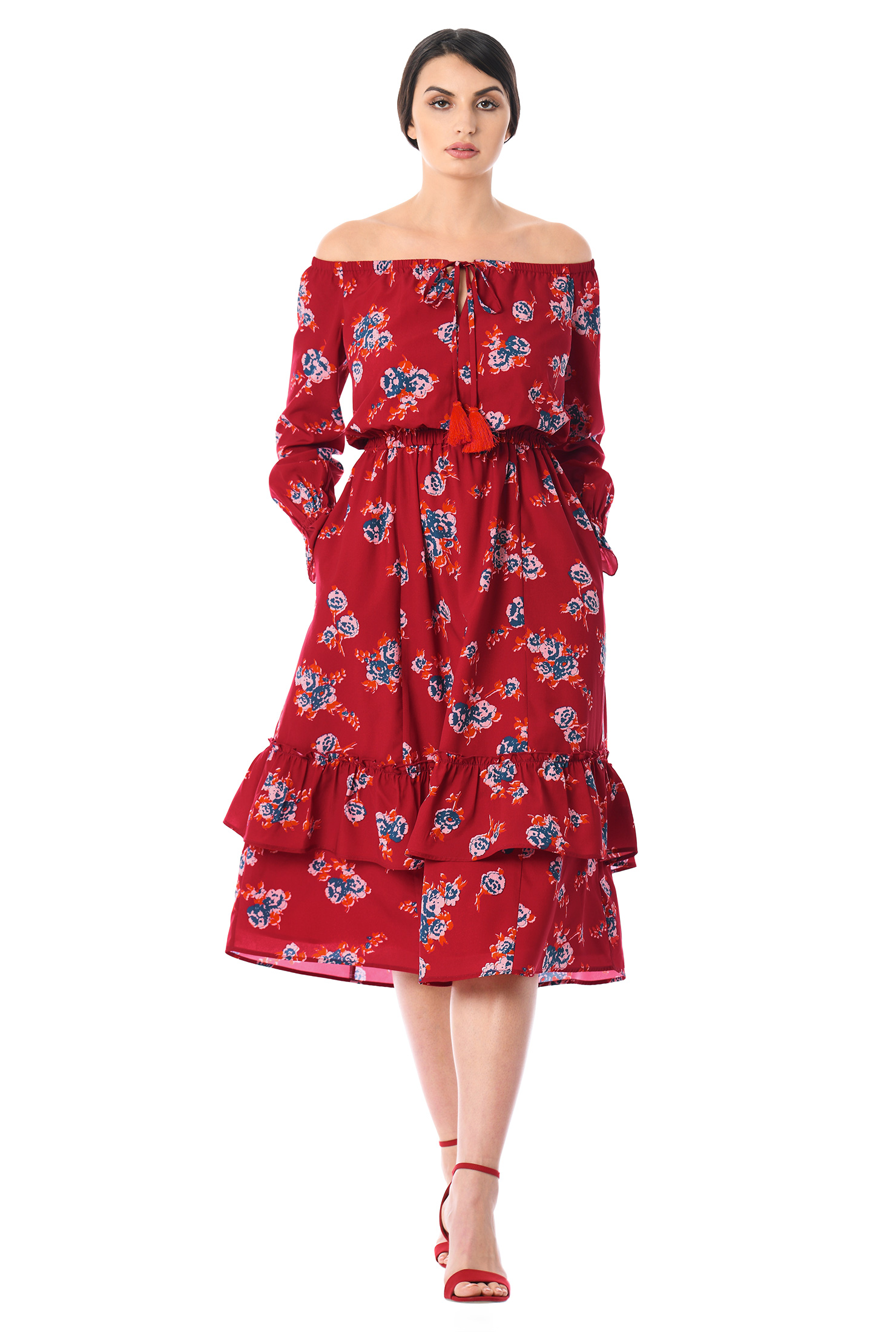 c74410b7c5db ... Off-the-shoulder floral print crepe dress.