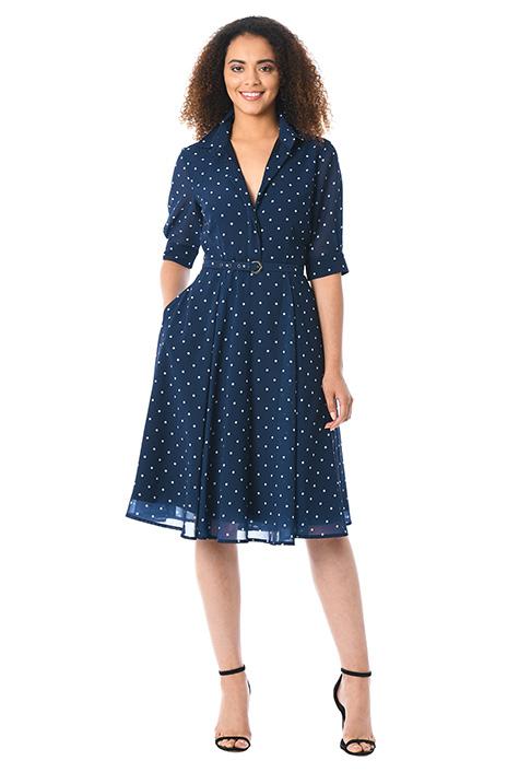 1940s Bridesmaid Dresses, Mother of the Bride Polka dot print georgette belted shirtdress $69.95 AT vintagedancer.com