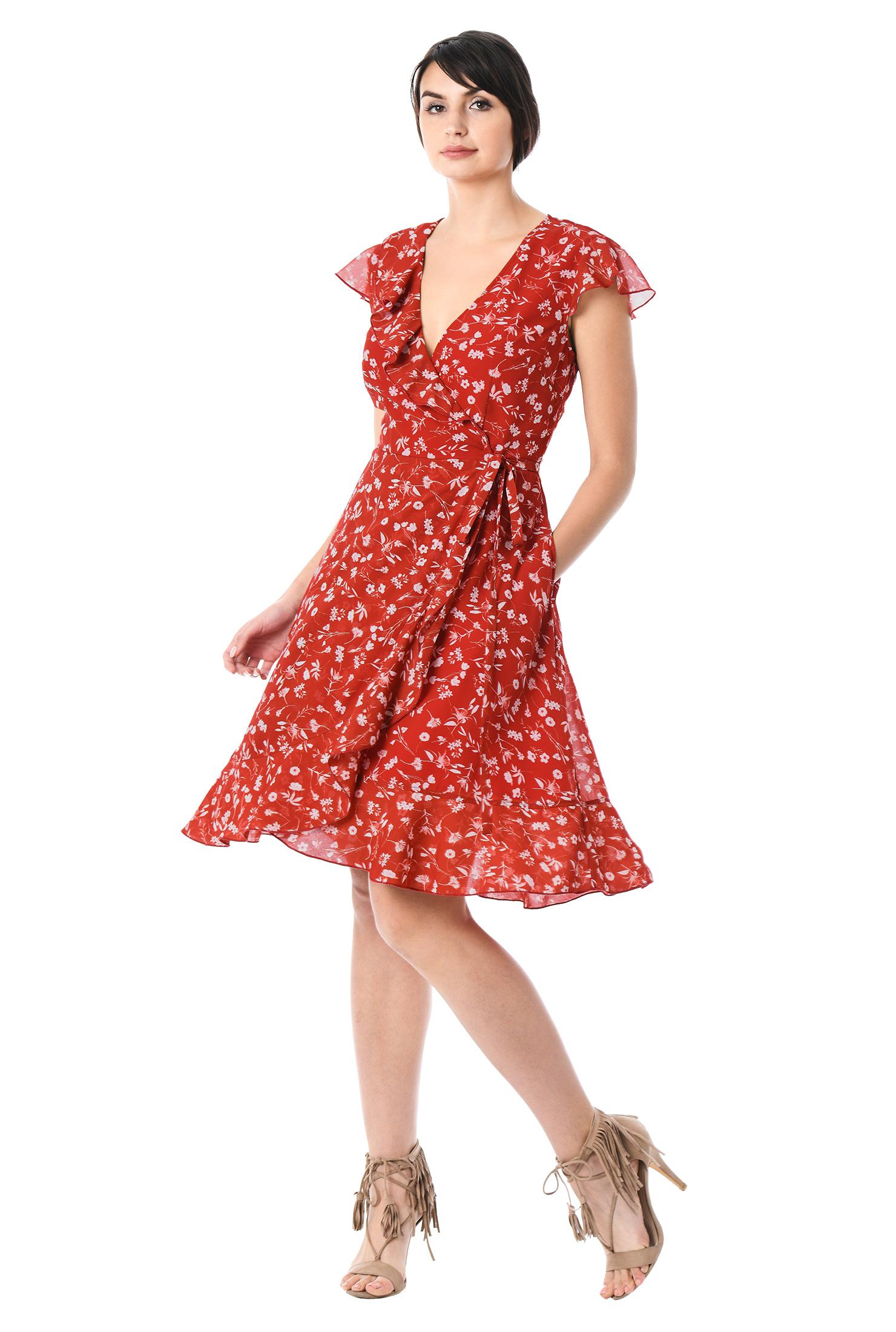 Day Dresses Fl Print Georgette Knee Length