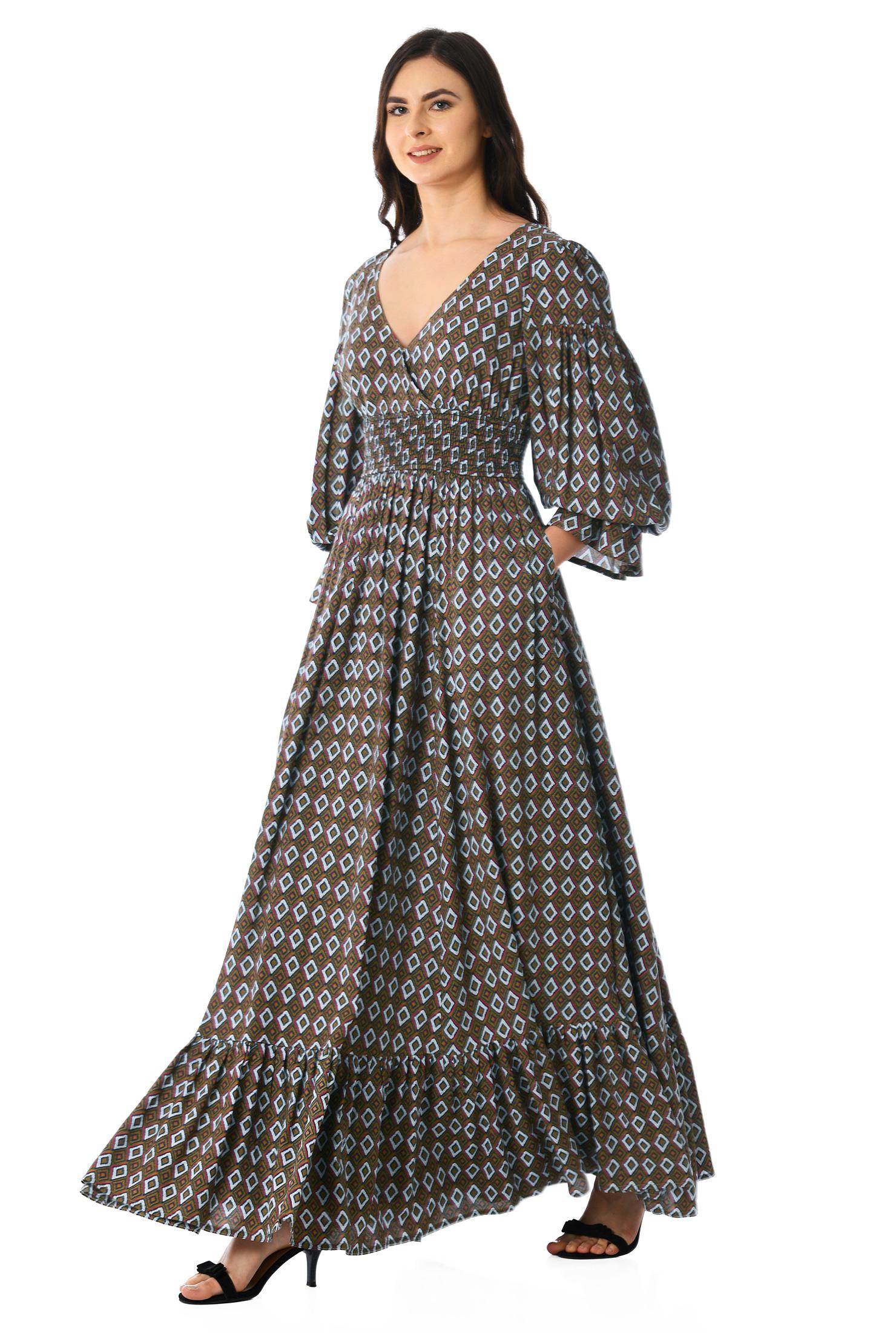 8c1943c532b6b Brown/white/black multi maxi, Deep V-neck maxi dresses,