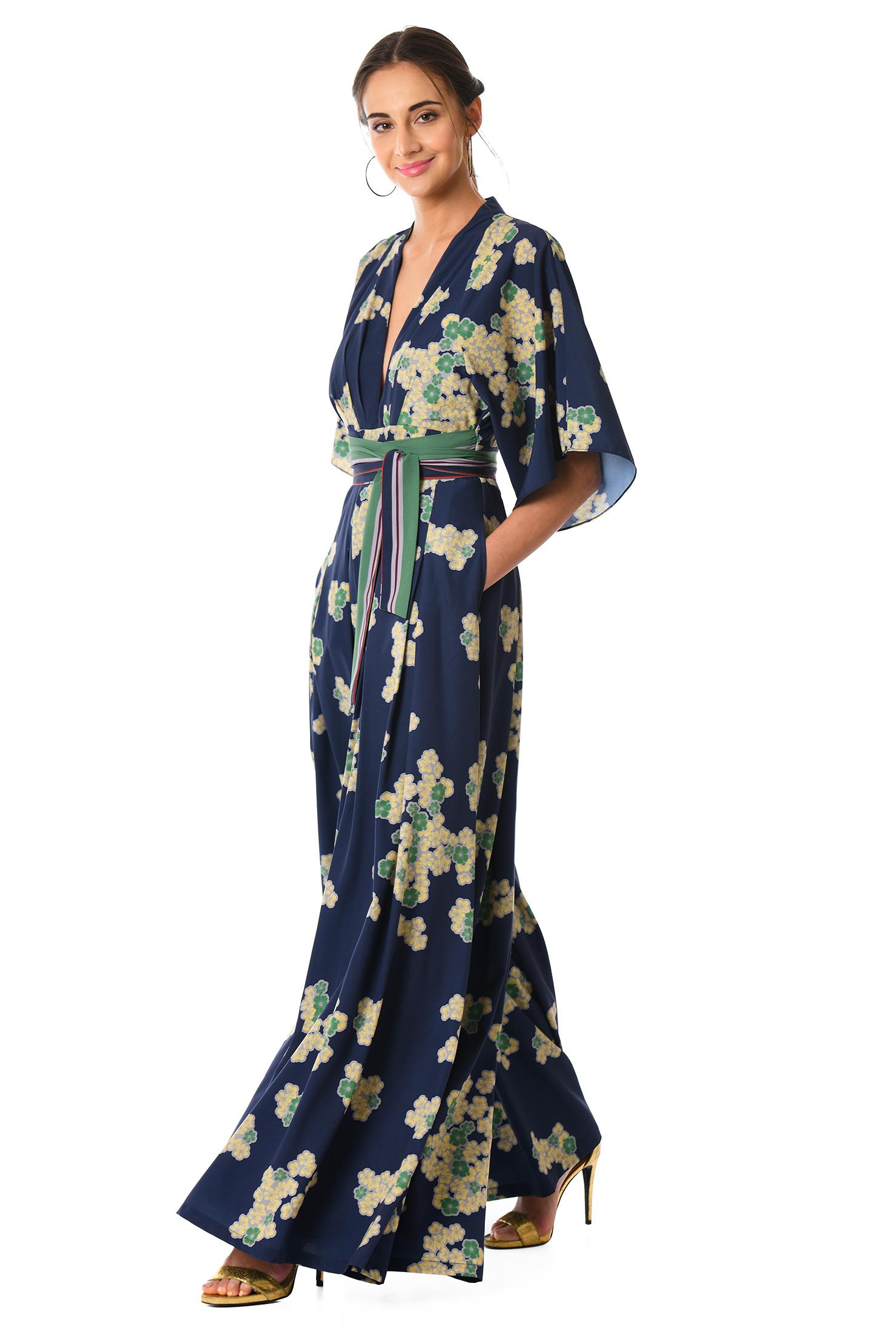 ee734cfb4ec ... Plunge floral print crepe jumpsuit. Previous