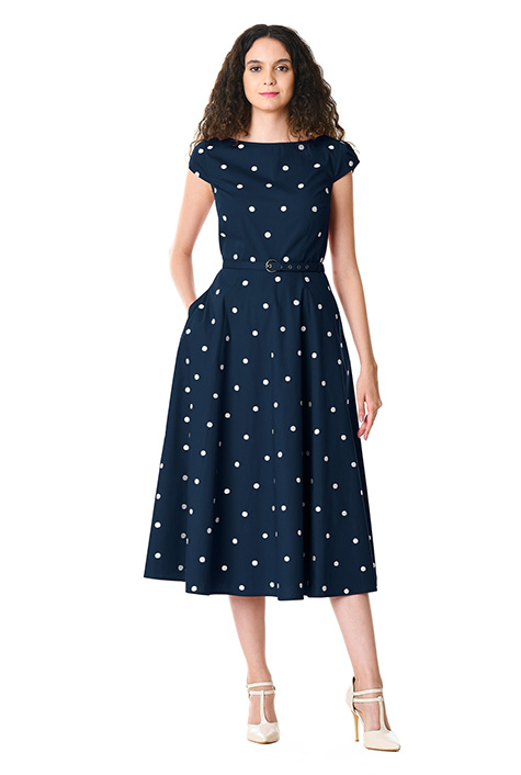 1950s Cocktail Dresses, Party Dresses Polka dot embellished cotton poplin dress $74.95 AT vintagedancer.com