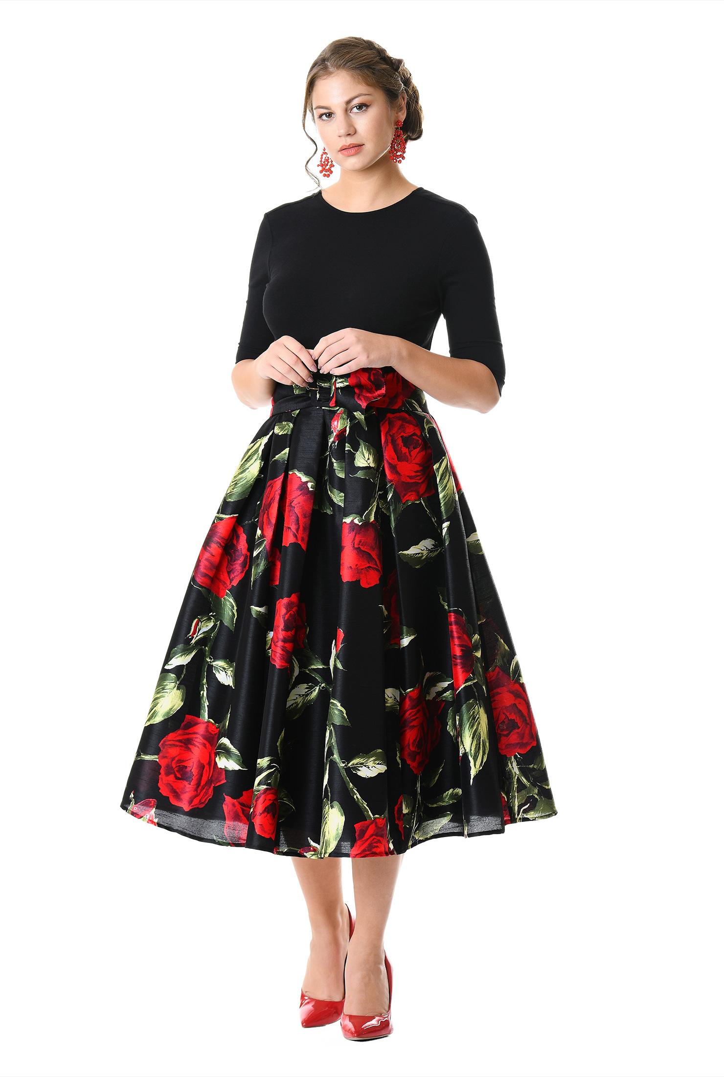 Floral print dupioni and cotton knit dress