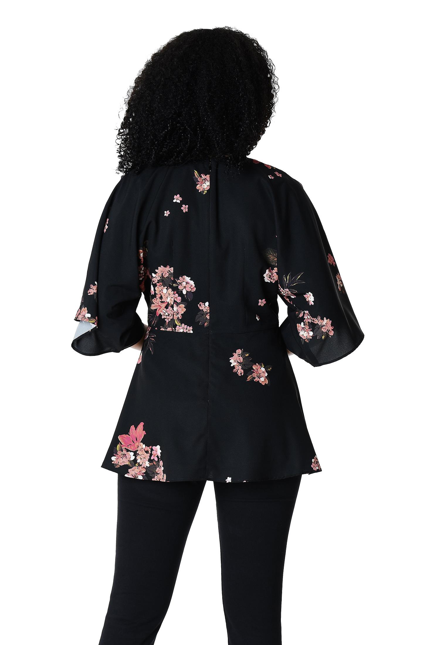 525d970e276c6 Kimono sleeve floral print crepe peplum blouse