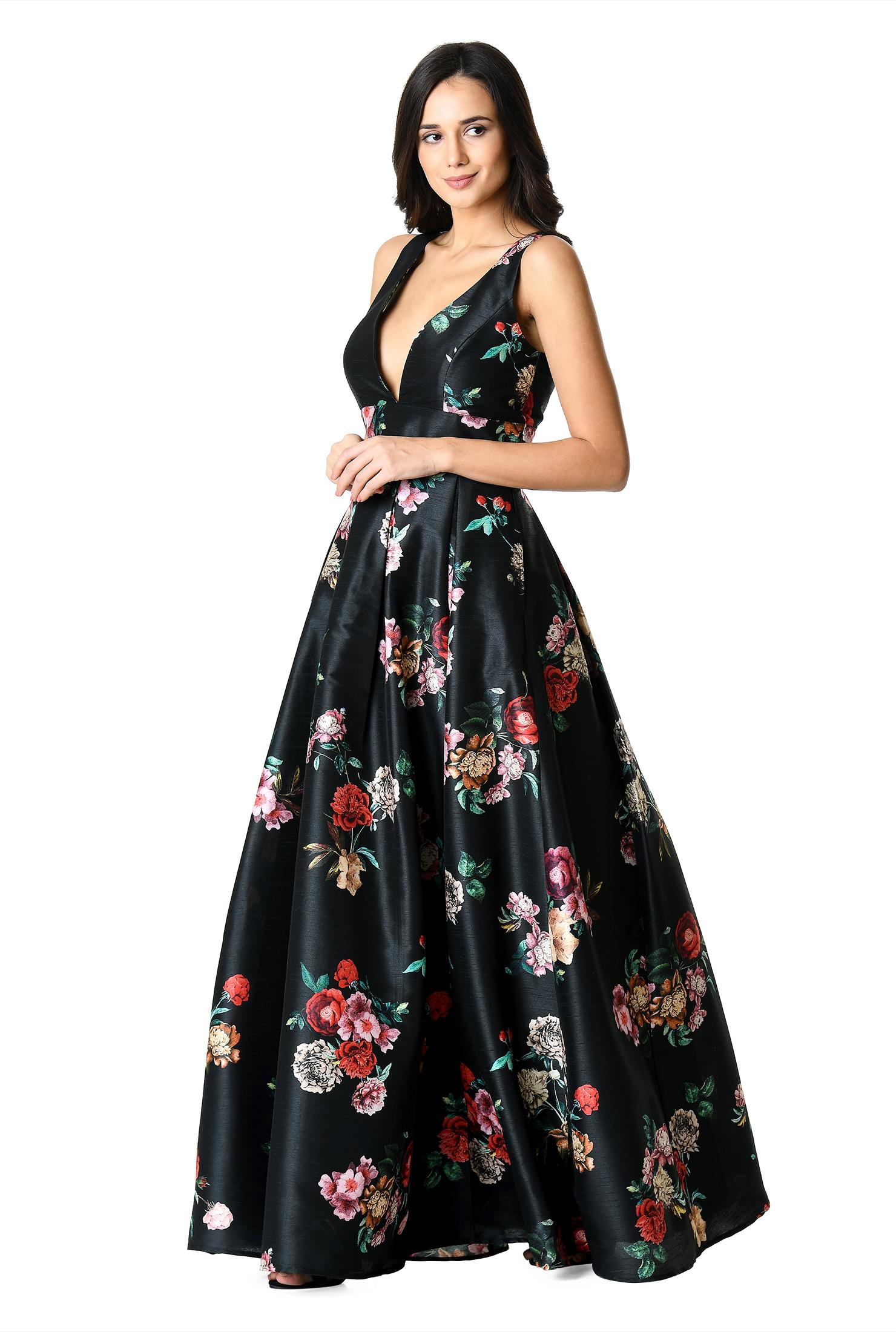 Plunge floral print dupioni dress