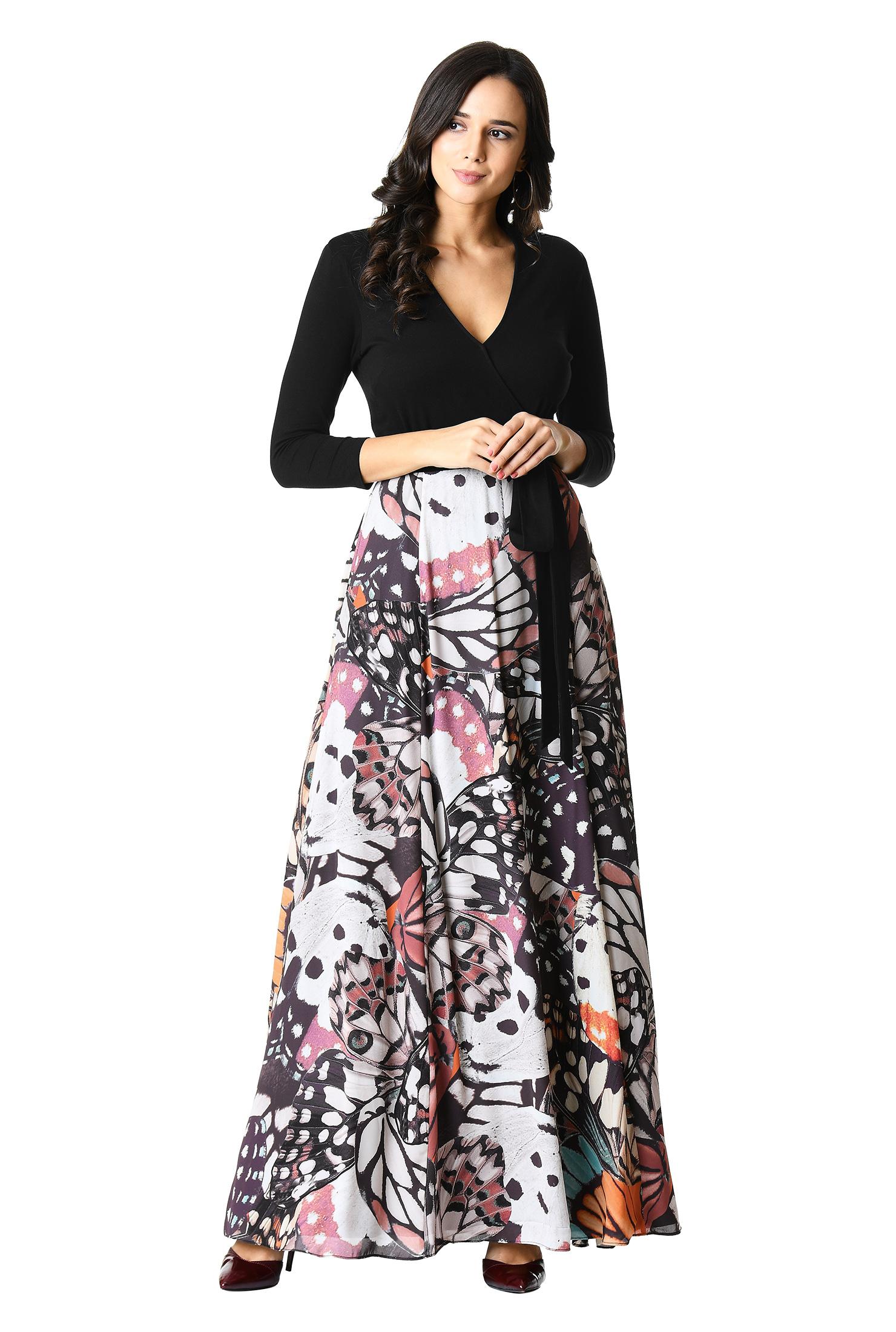 4f8698ddde ... Butterfly print mixed media maxi dress.