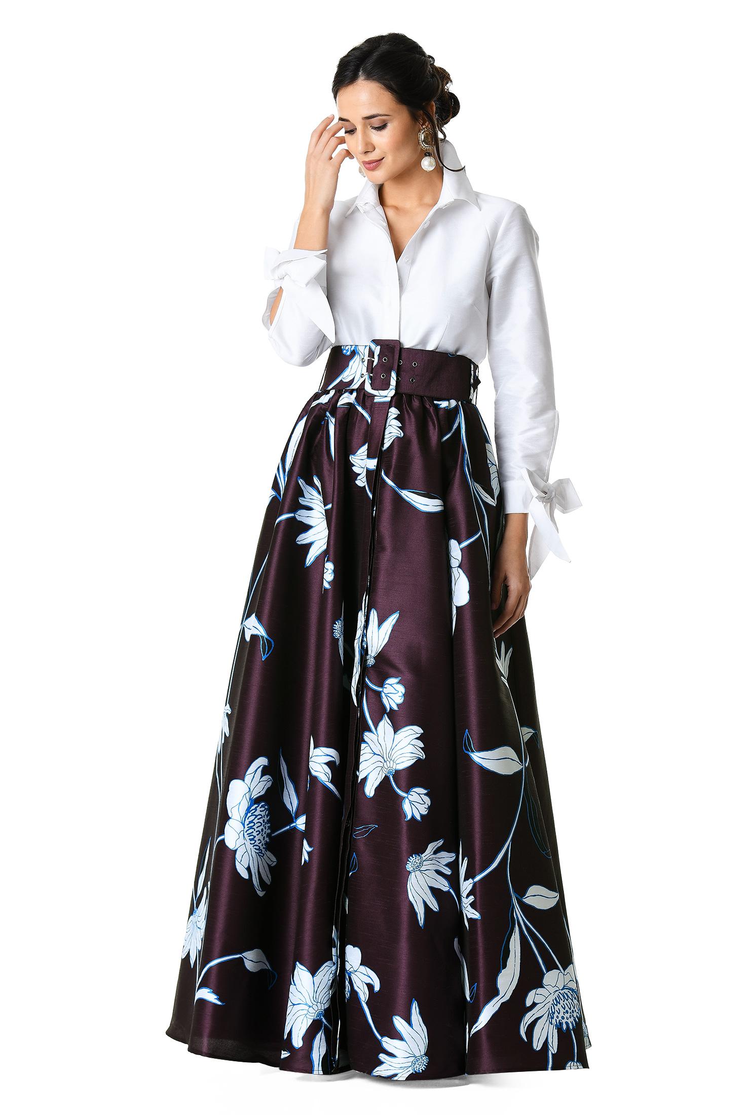 Floral print dupioni maxi shirtdress